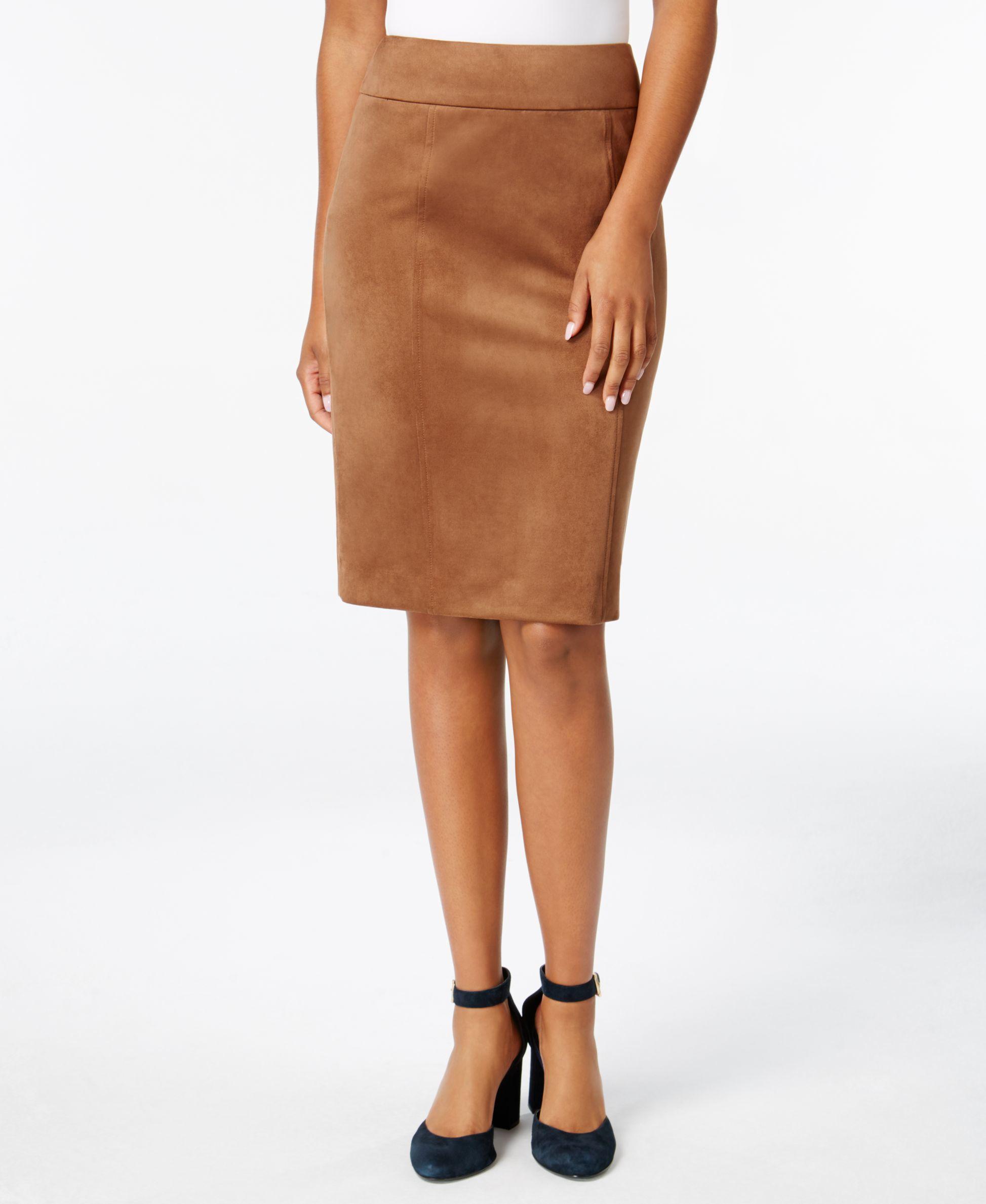 eddbcc86c4 Tommy Hilfiger Faux-suede Pencil Skirt in Brown - Lyst