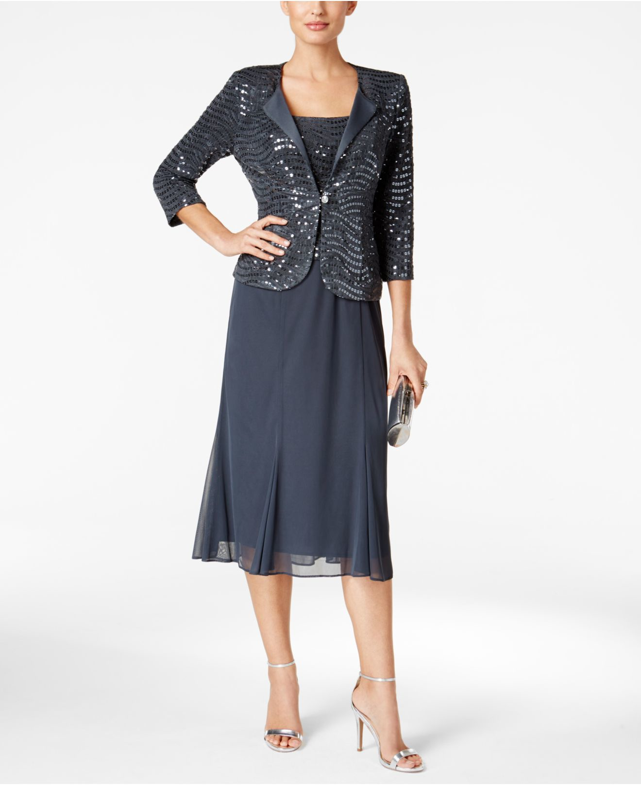 Alex Evenings Sequined Chiffon Midi Dress And Jacket In Blue (Gray) | Lyst