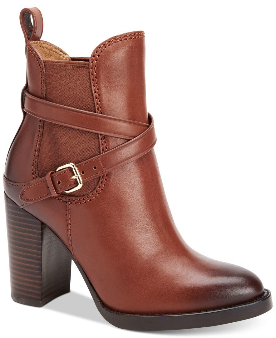 5f518e66537af Lyst - COACH Jackson Block-heel Booties in Brown