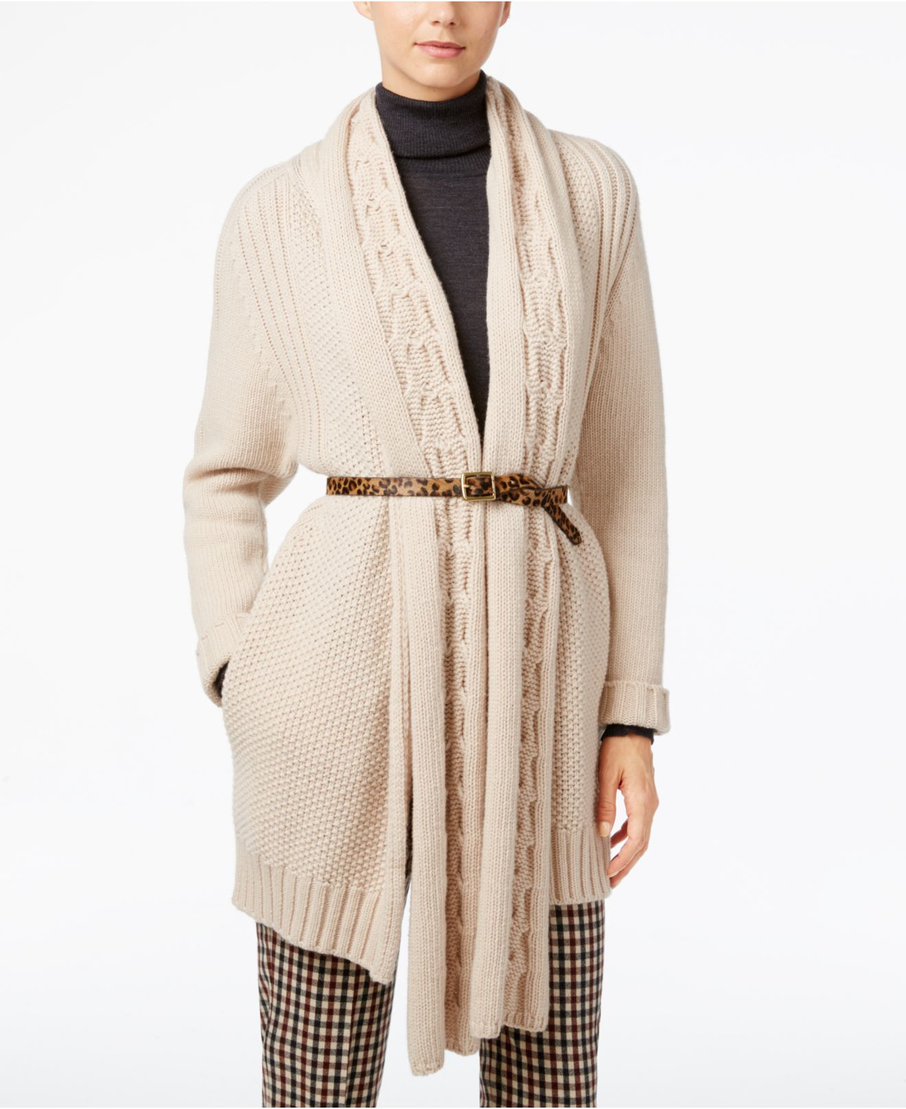 max mara weekend max mara cable knit wool sweater in natural sand lyst. Black Bedroom Furniture Sets. Home Design Ideas
