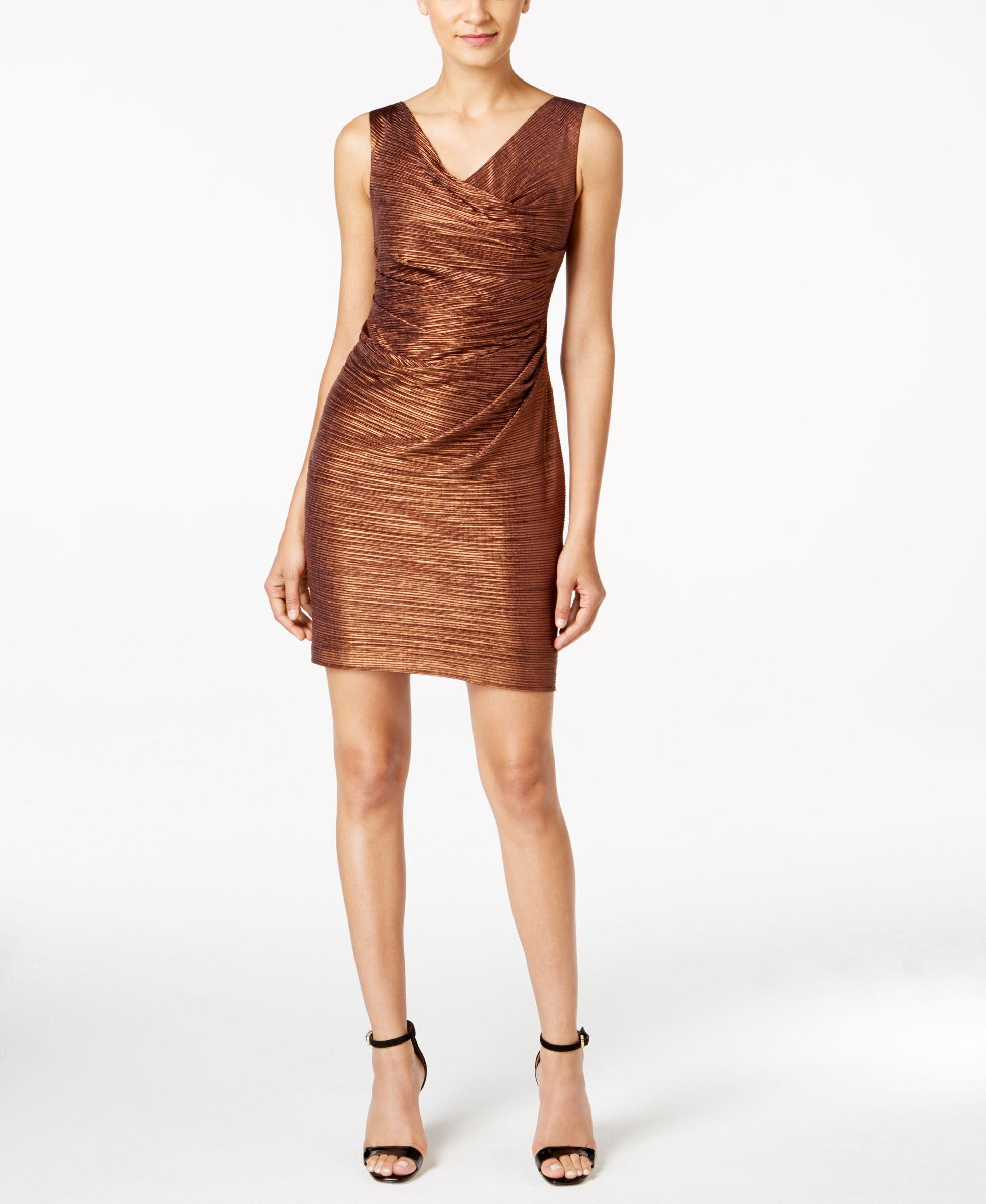 Lyst - Calvin Klein Draped Plisse Cocktail Dress in Brown