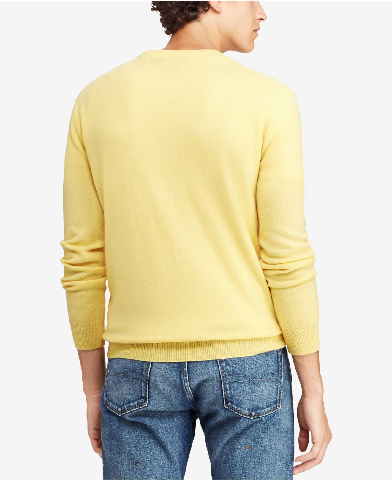 f3b3935d ... best price lyst polo ralph lauren cashmere crew neck sweater in yellow  for men 32988 27d86