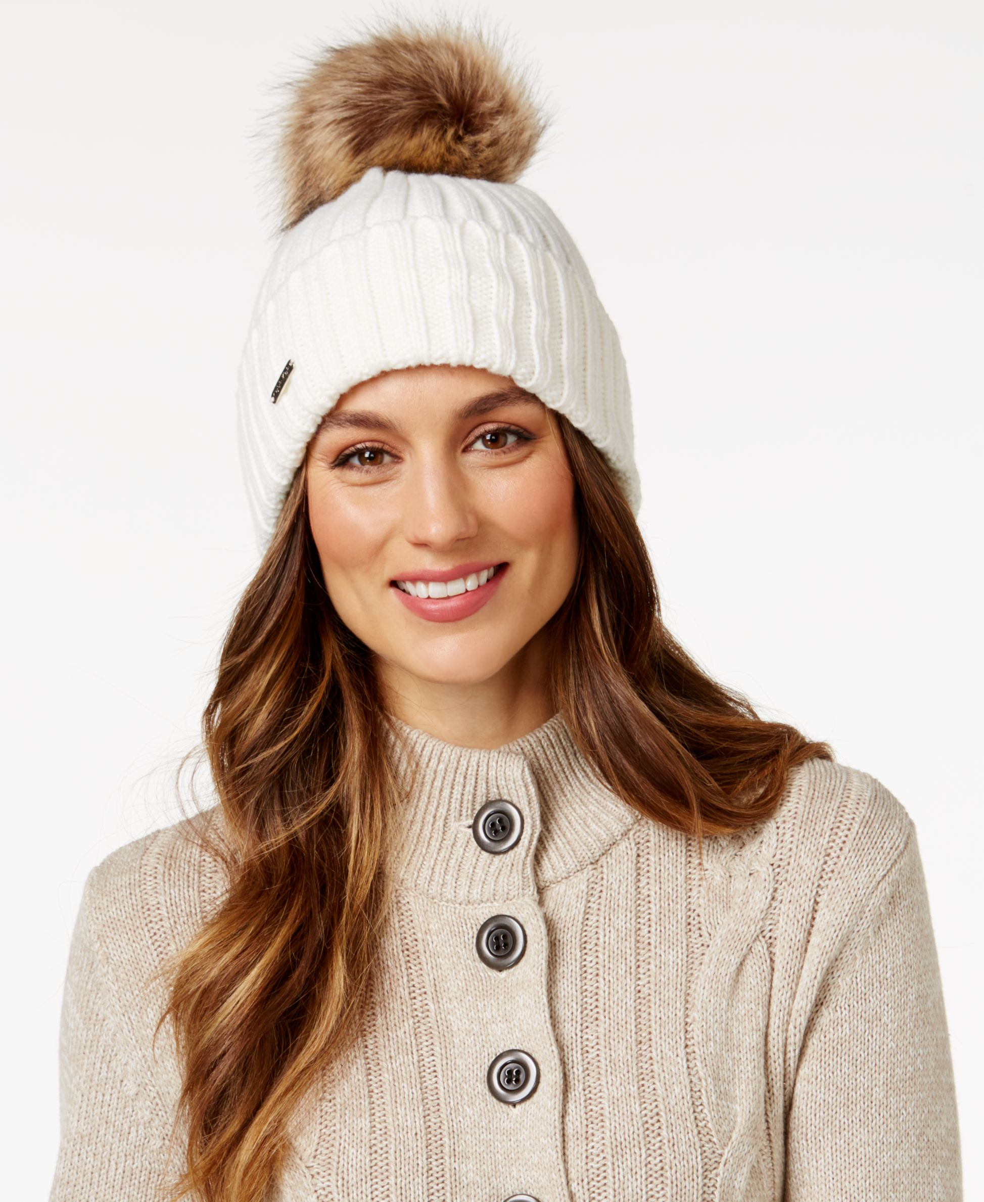 77a055df Calvin Klein Plush Faux Fur Pom Beanie
