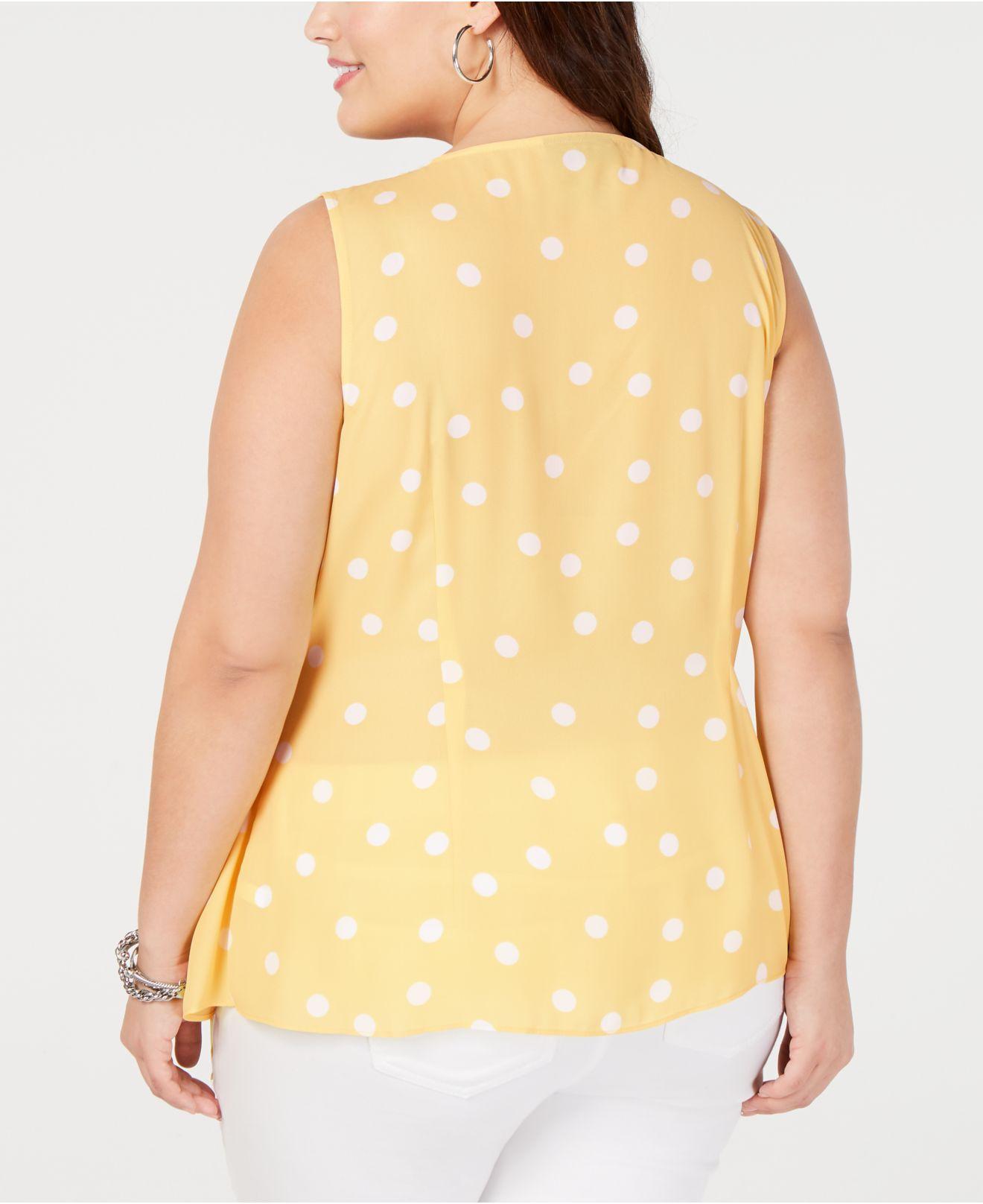 185fe2777d2 INC International Concepts I.n.c. Plus Size Sleeveless Polka-dot Wrap Top