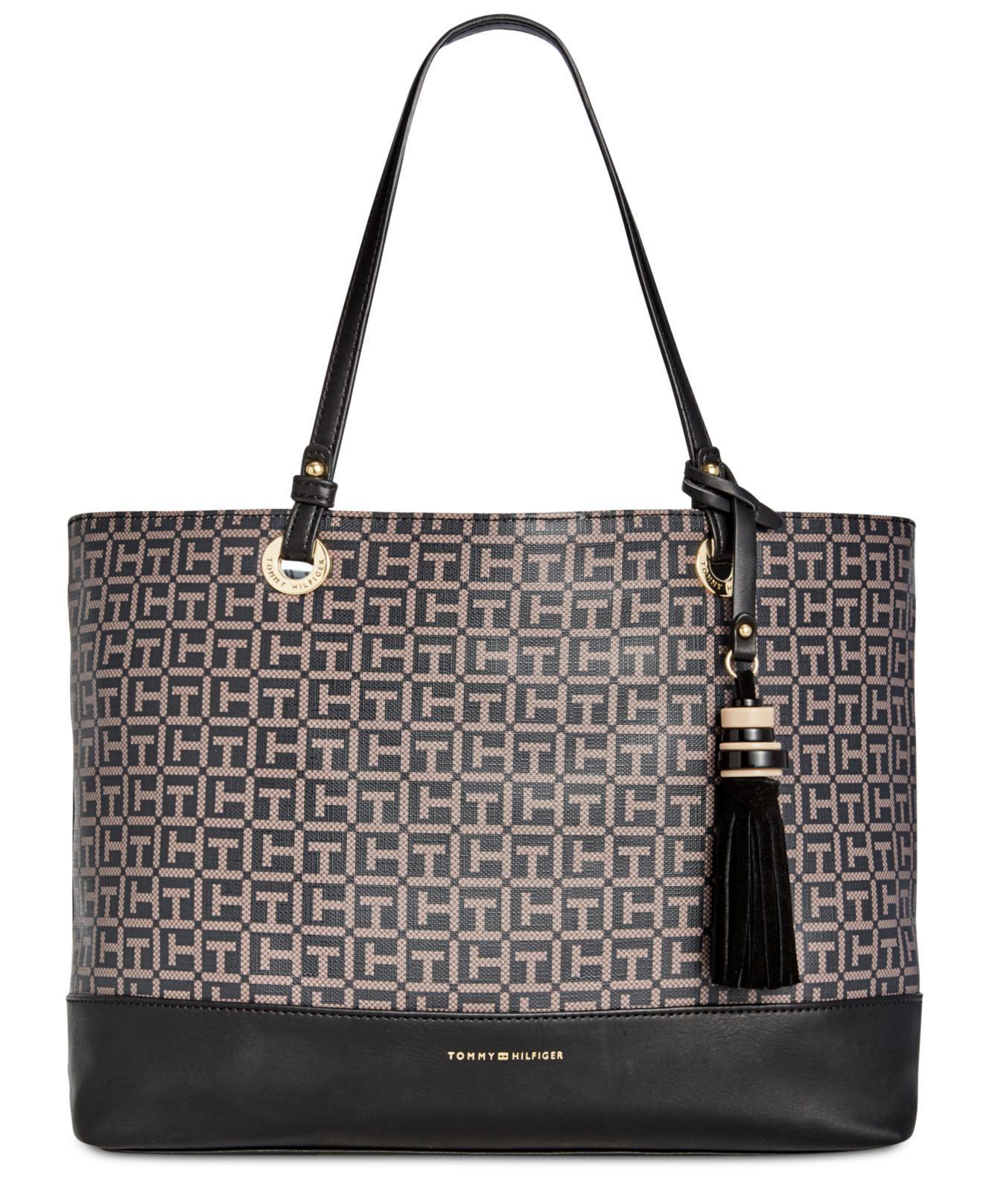 eea5912be10 Lyst - Tommy Hilfiger Grace Coated Shopper in Black