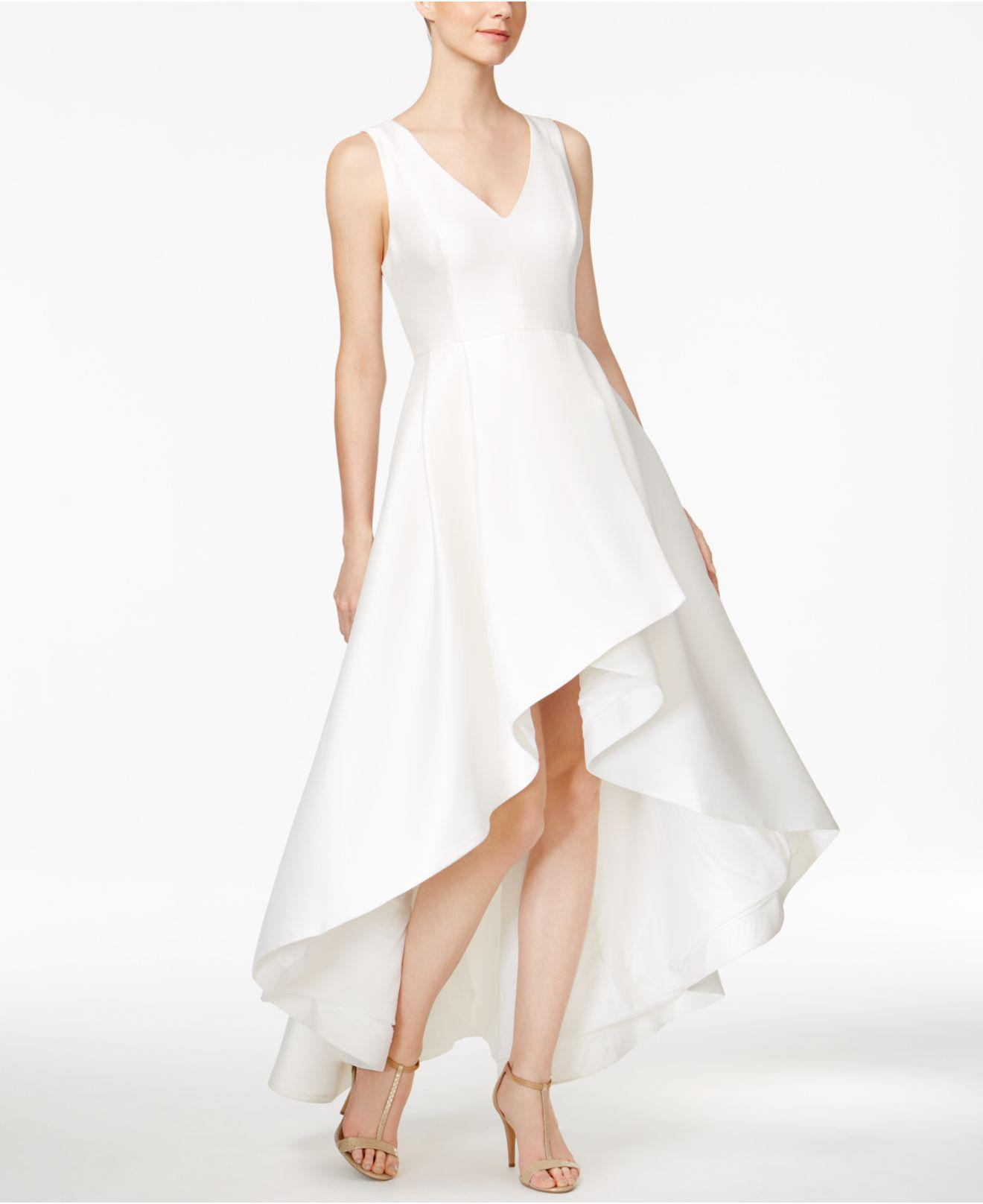 09143e11f2 Lyst - Calvin Klein High-low A-line Gown in White