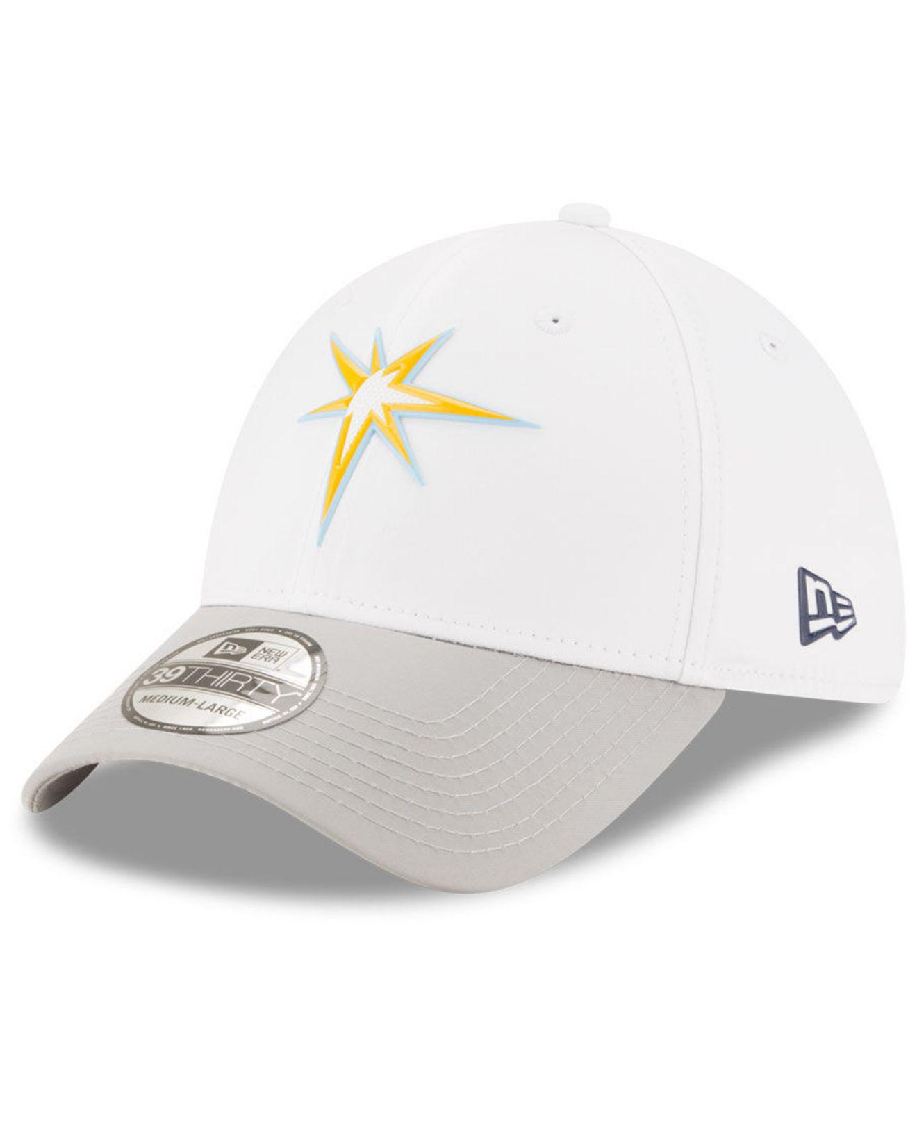 online retailer 610c3 a12d4 ... usa ktz tampa bay rays white batting practice 39thirty cap for men lyst.  view fullscreen