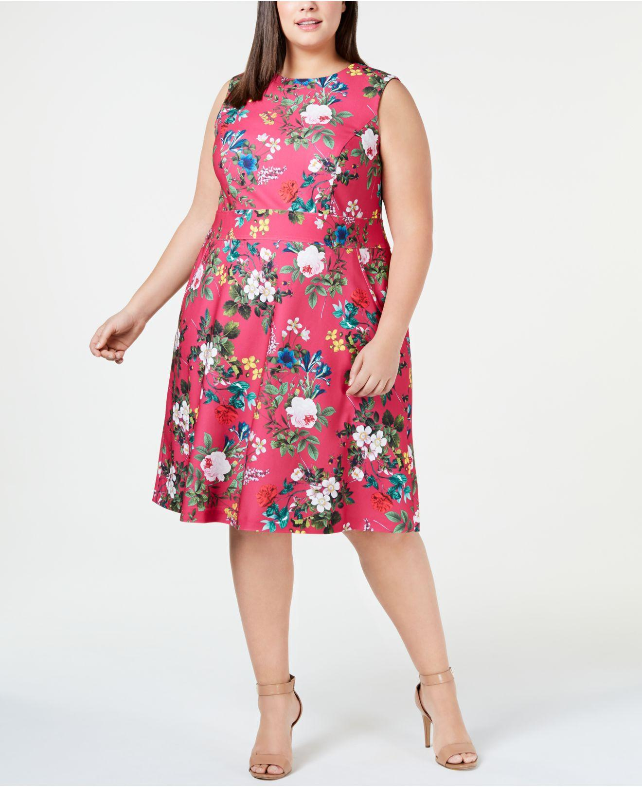 9ba33e00f8f Calvin Klein Plus Size Floral-print A-line Dress in Pink - Lyst