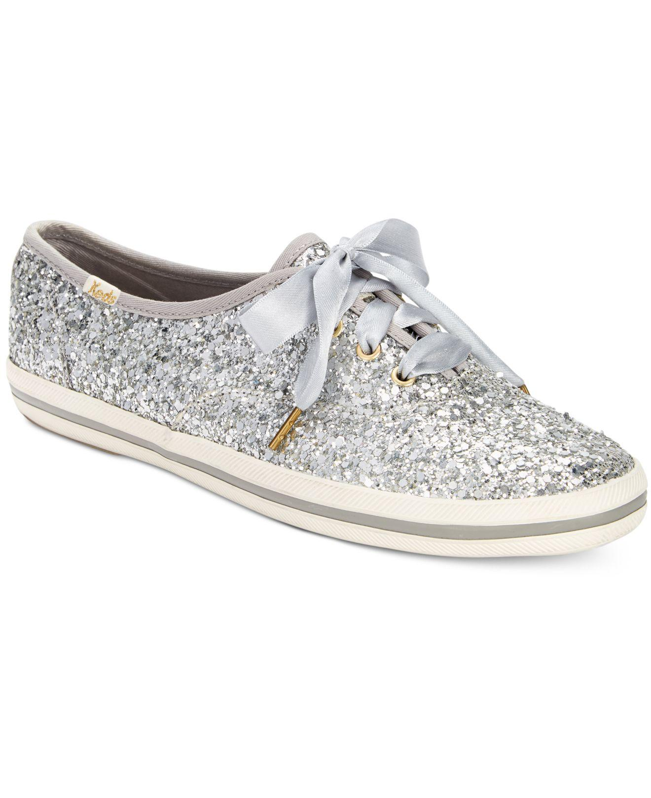 f10886b45b46 Lyst - Kate Spade Glitter Lace-up Sneakers in Metallic