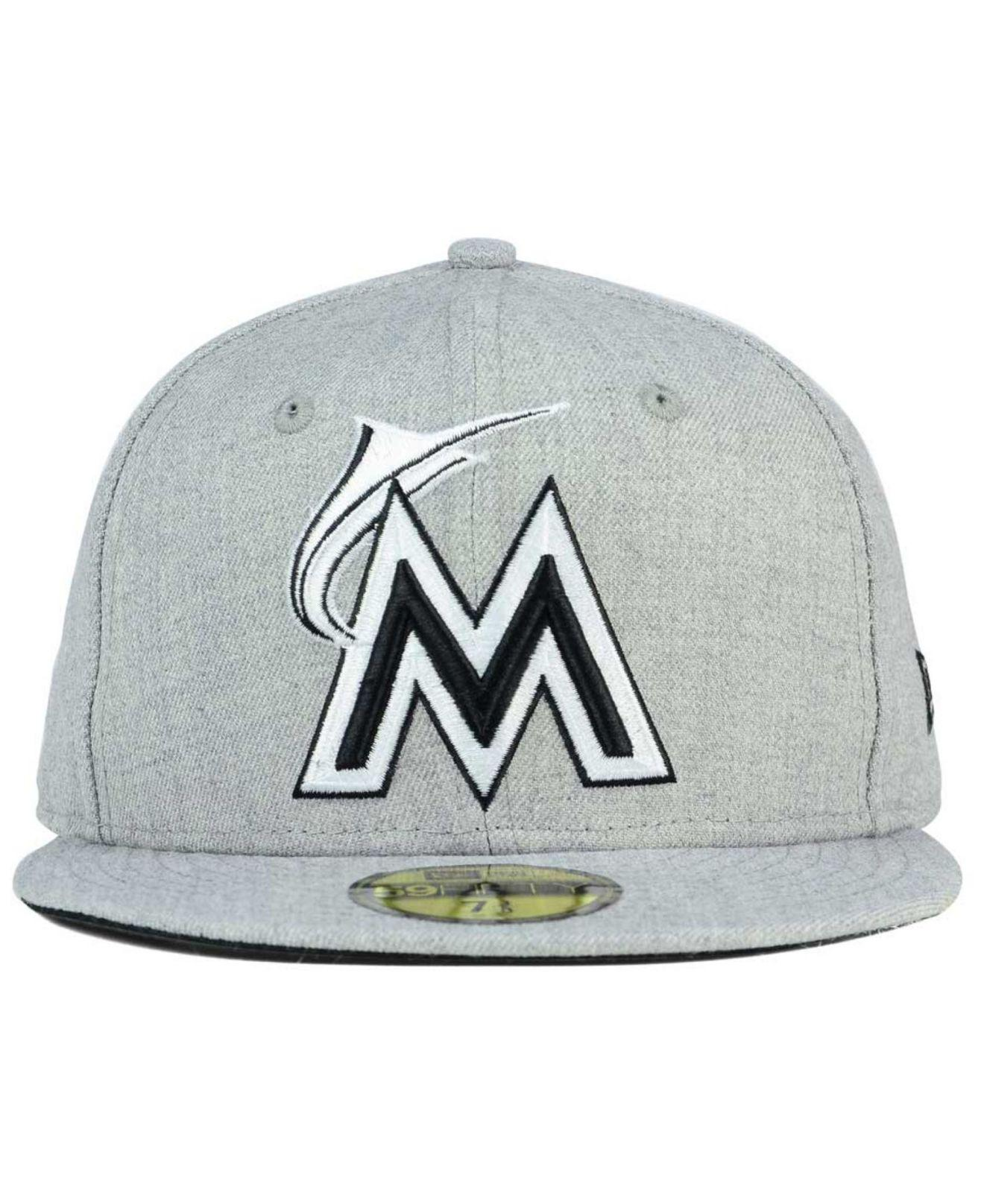 best sneakers 9e26a ed976 ... sale lyst ktz miami marlins heather black white 59fifty fitted cap in  gray for men 96913