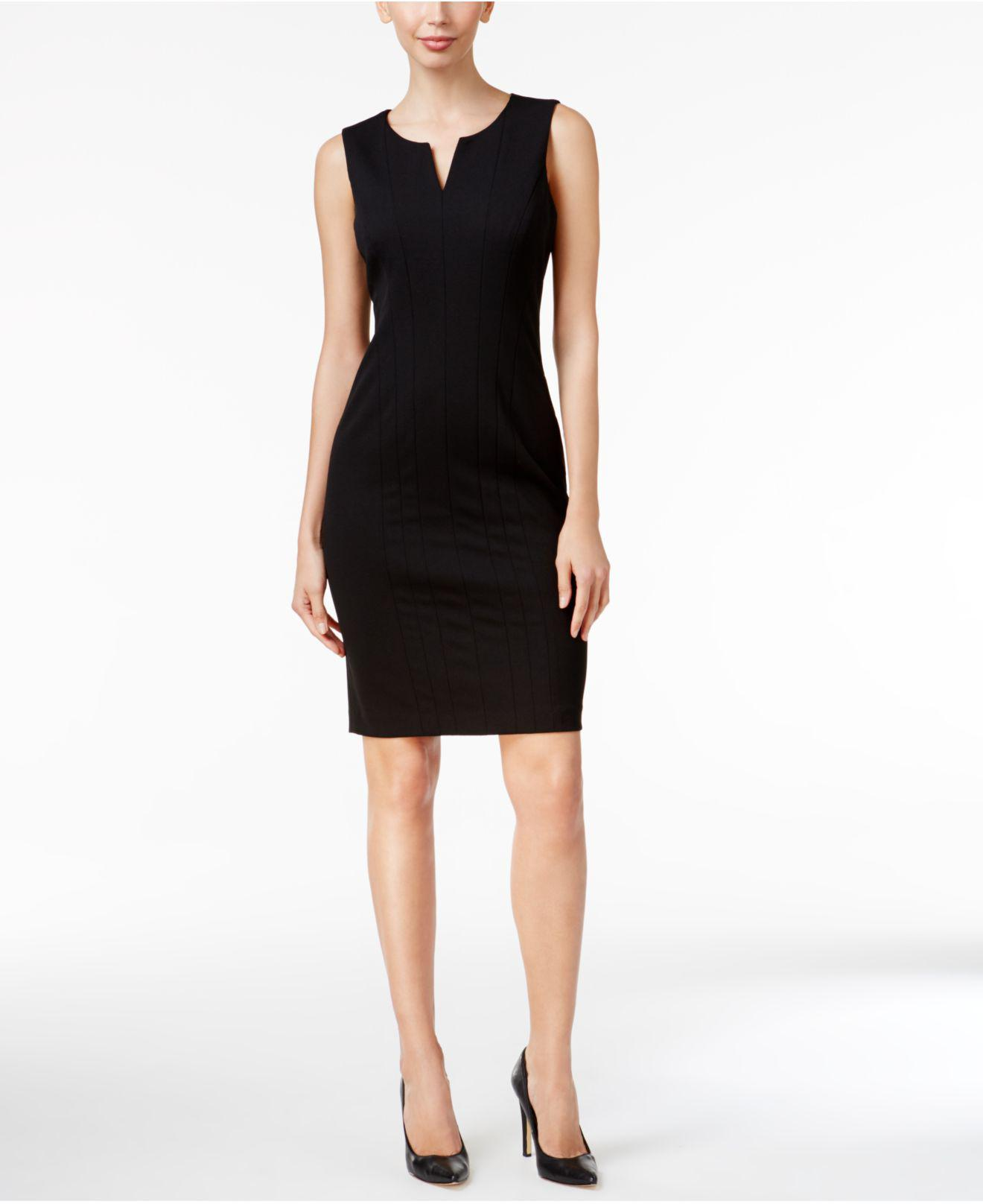 001001fd Calvin Klein Split-neck Sheath Dress in Black - Save 57% - Lyst