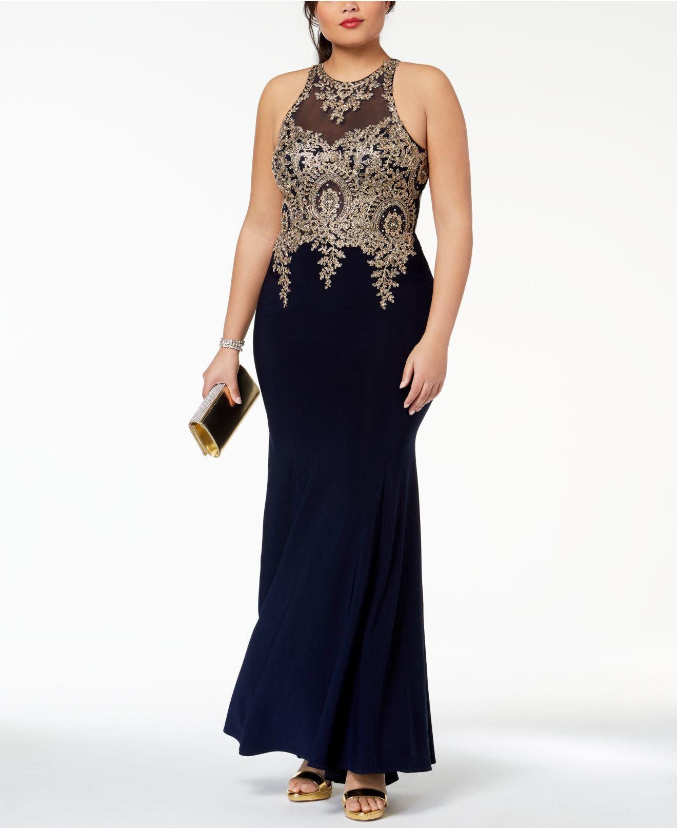 5239a577 Xscape Plus Size Embroidered Mesh Mermaid Gown in Blue - Lyst