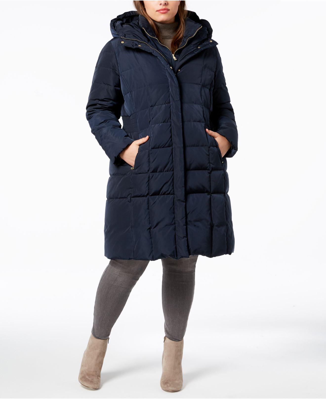 3b974252e3c Lyst - Cole Haan Signature Plus Size Layered Down Puffer Coat in Blue