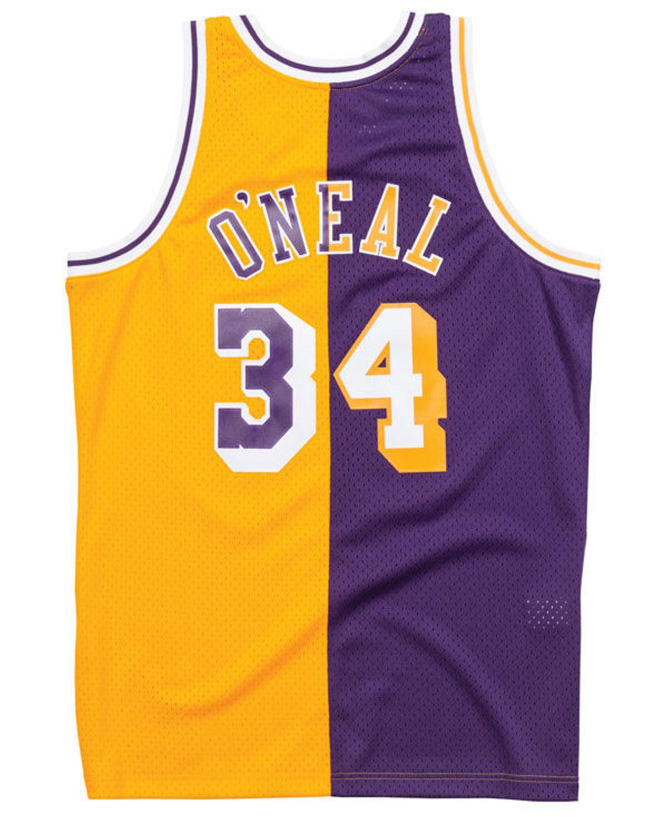 Lyst - Mitchell   Ness Shaquille O neal Los Angeles Lakers Split Swingman  Jersey in Purple for Men 6c27669c6