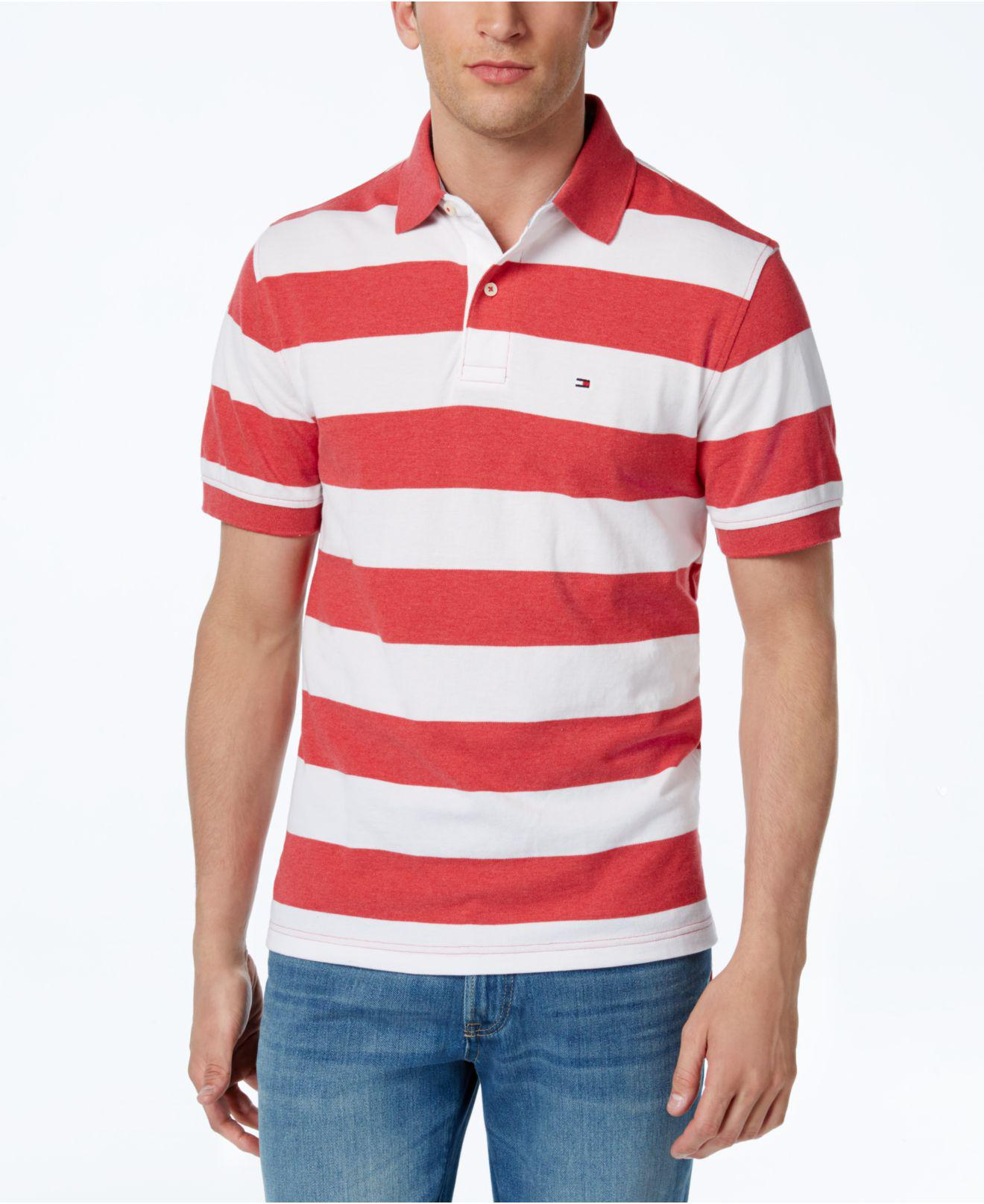 d07a31a5b Tommy Hilfiger Logan Striped Rugby Polo Shirt in Red for Men - Lyst