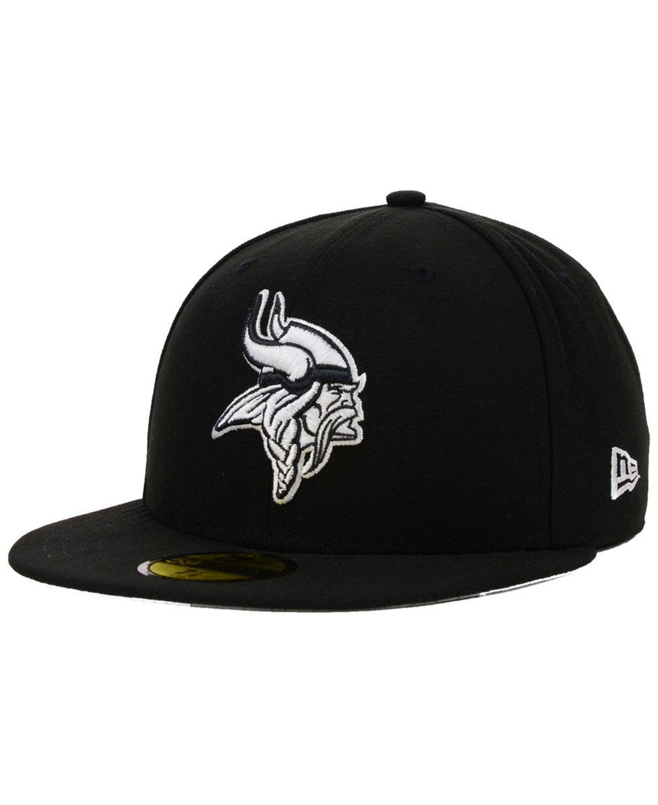 KTZ - Minnesota Vikings Black And White 59fifty Fitted Cap for Men - Lyst.  View fullscreen 4910a2f2c
