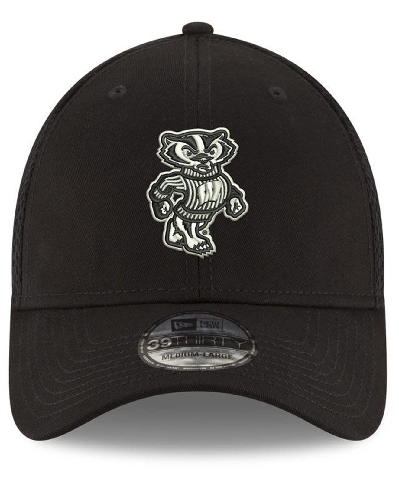 timeless design c28b9 74086 KTZ Wisconsin Badgers Black White Neo 39thirty Cap in Black for Men - Lyst