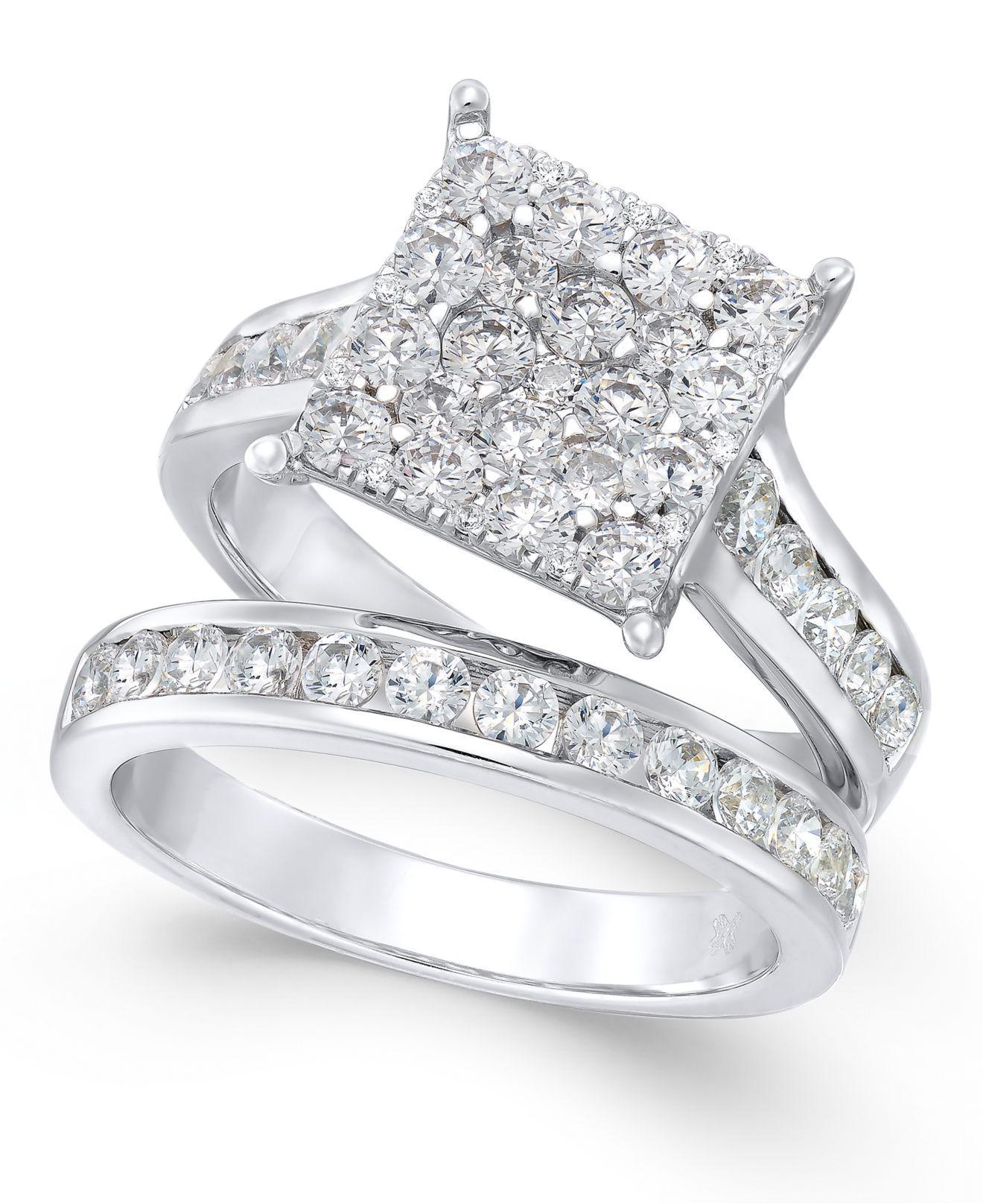 Macy s Diamond Square Cluster Bridal Set 2 Ct T w In 14k White