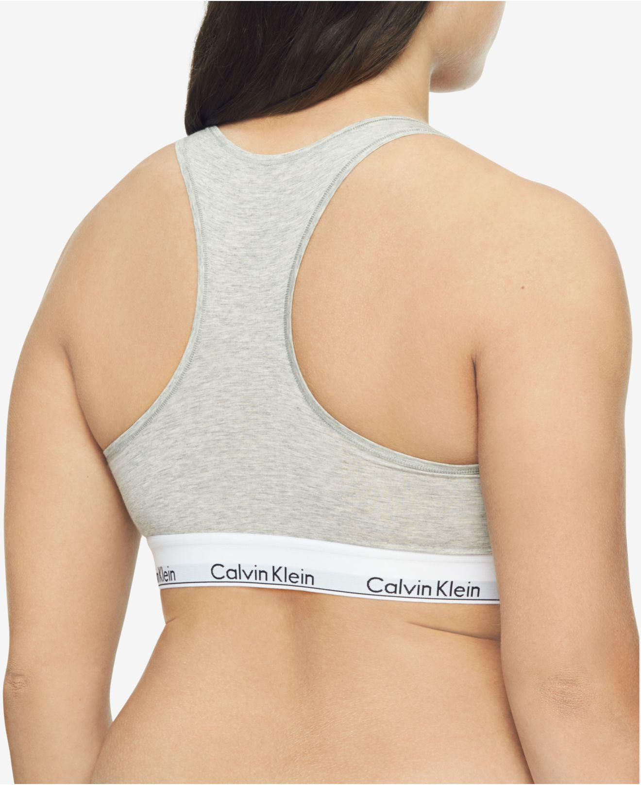 d9e2dca8f6f Lyst - Calvin Klein Plus Size Modern Cotton Unlined Bralette Qf5116 in Gray