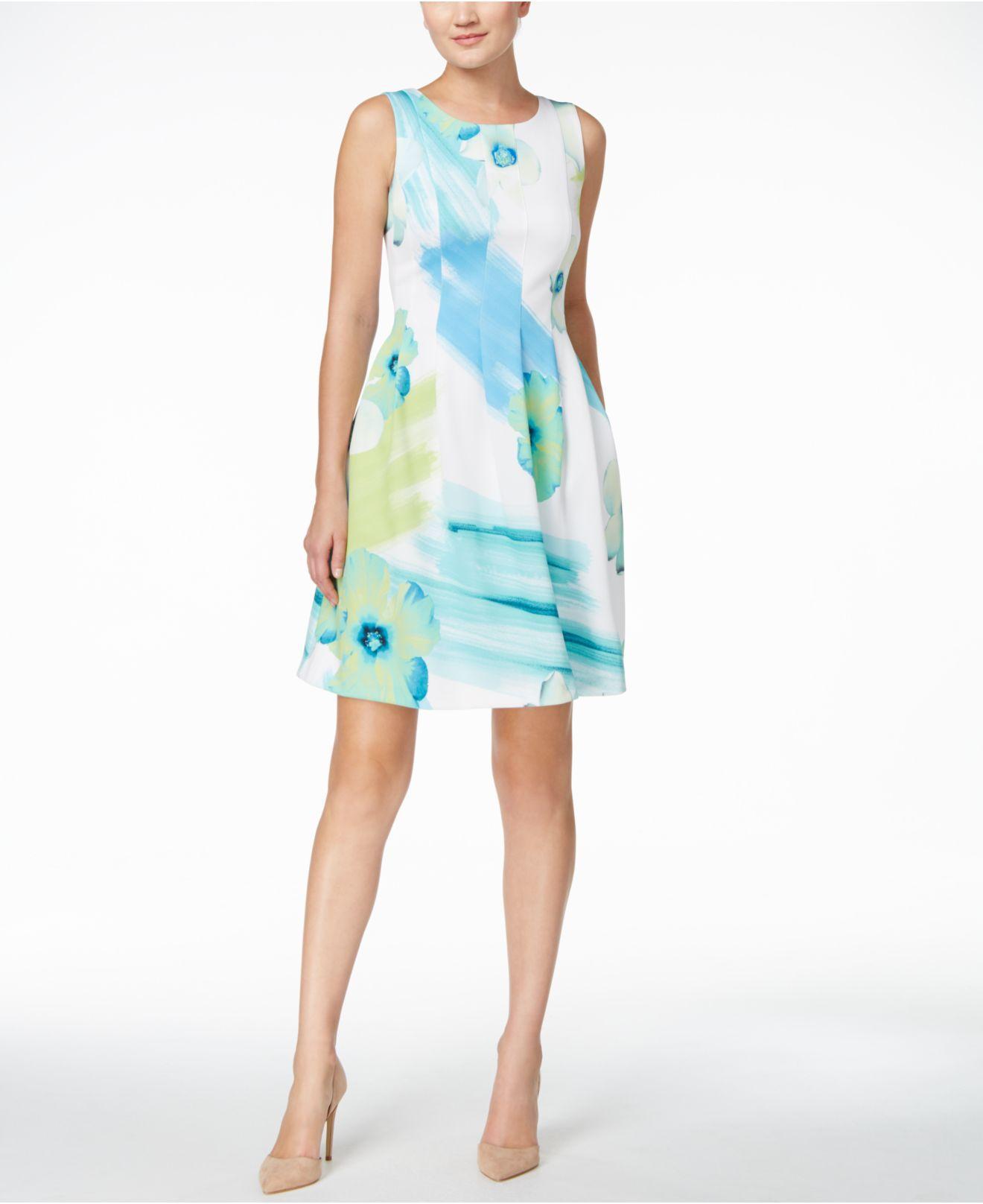 Lyst Calvin Klein Petite Watercolor Floral Fit Amp Flare