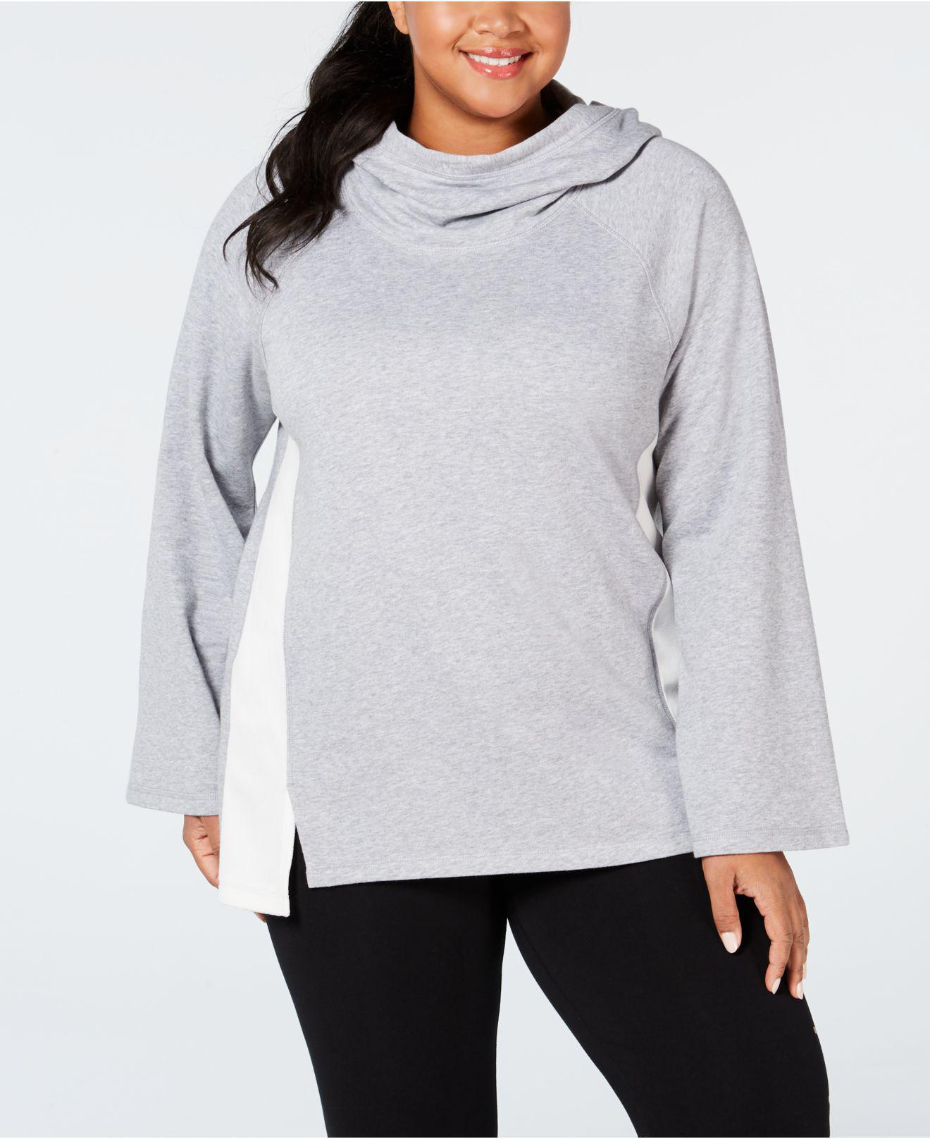 ad6a6fd854f Calvin Klein. Women s Gray Performance Plus Size Velour-trimmed Cowl-neck  Hoodie