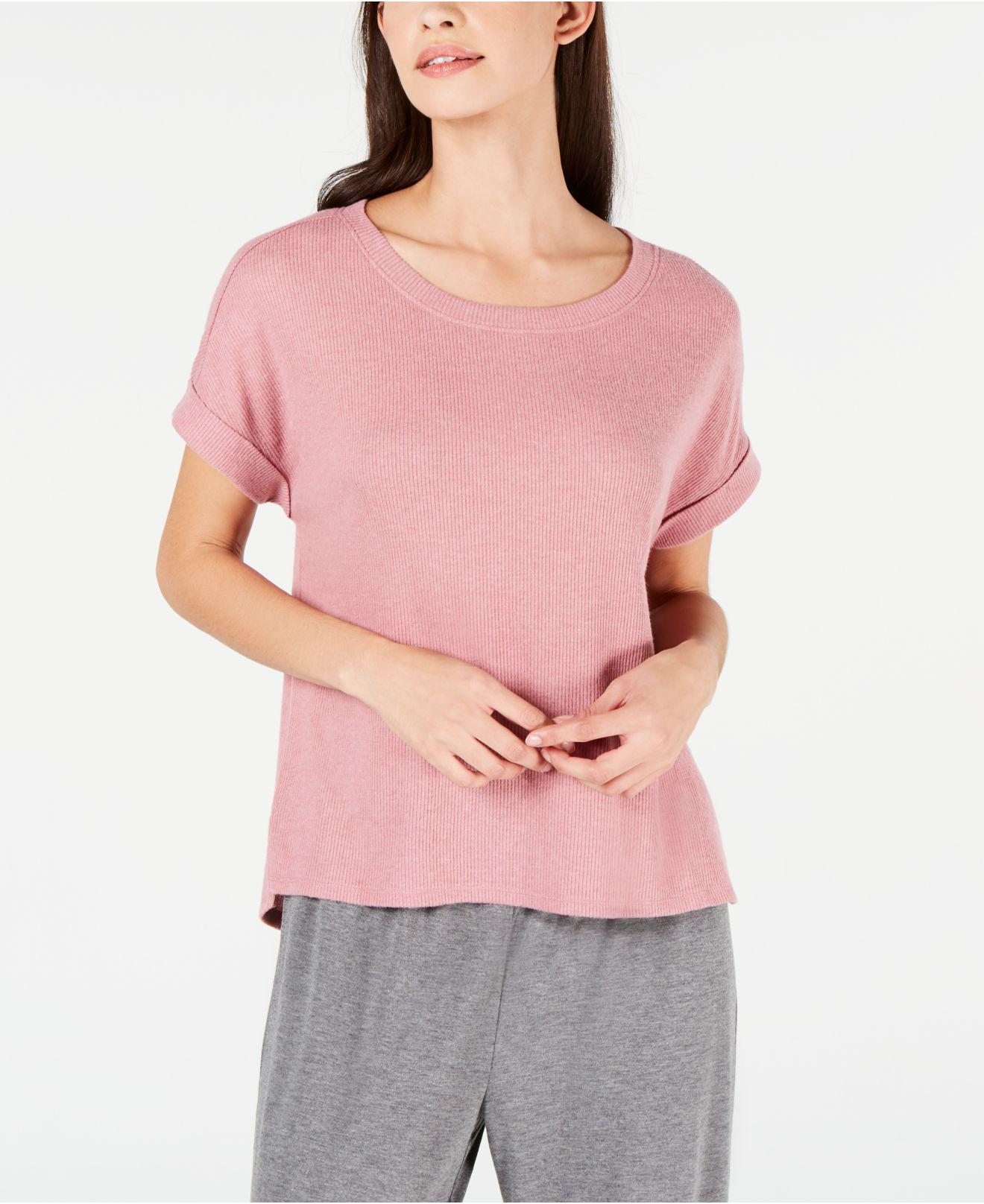 0efc59eb0c Alfani Ribbed Soft-knit Pajama Top, Created For Macy's in Pink - Lyst