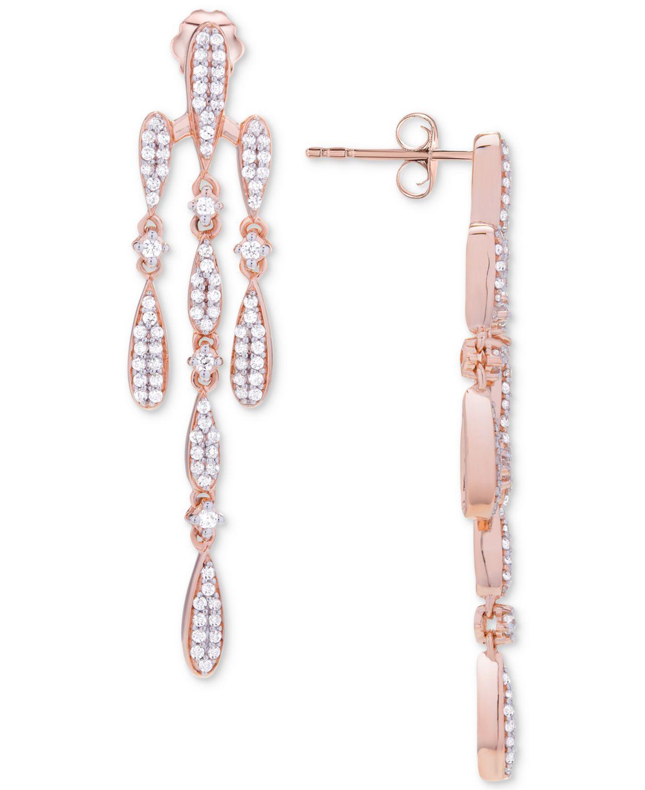 Wrapped In Love Women S Metallic Diamond Chandelier Earrings