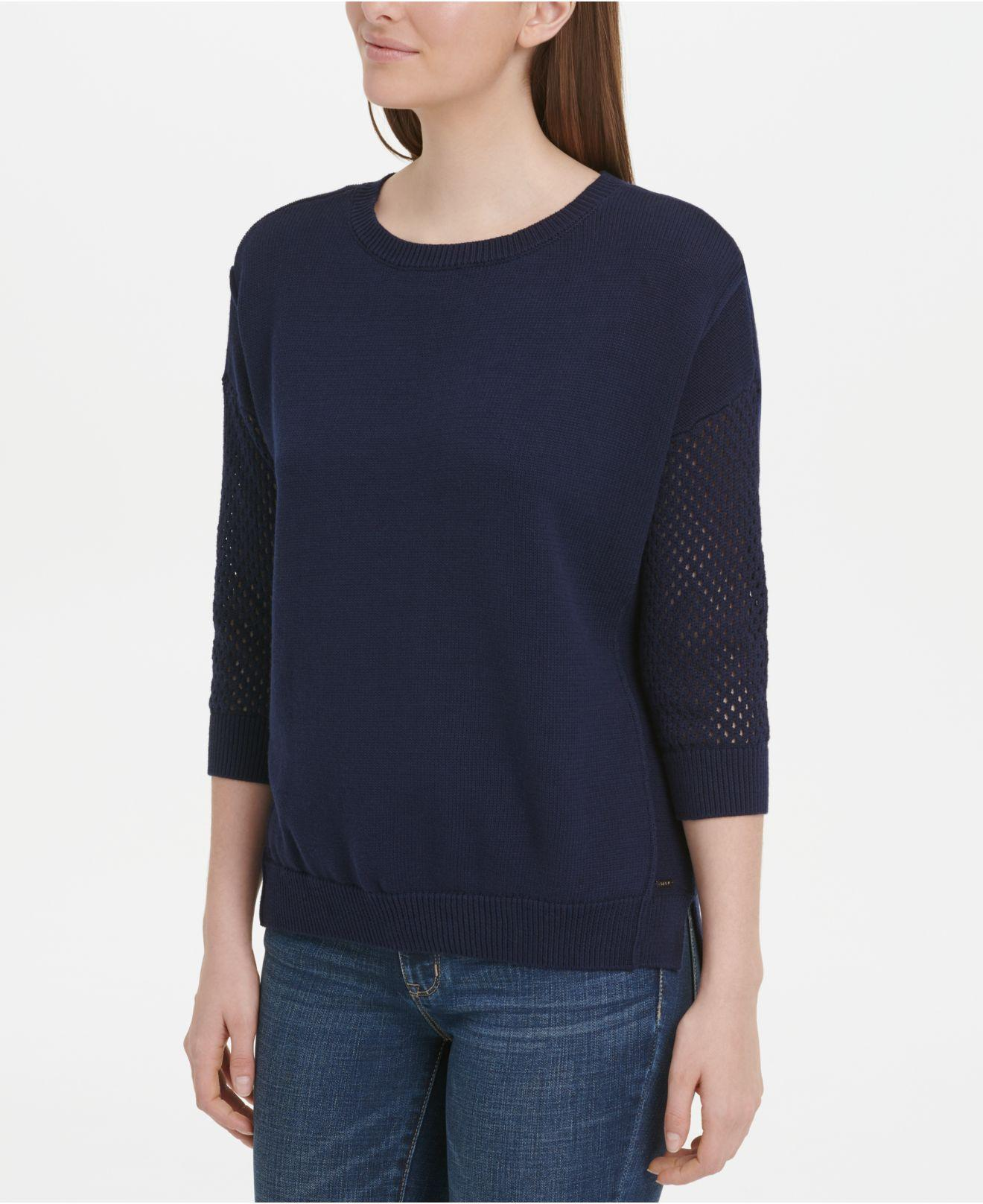 89b5dc80136 Lyst - DKNY Cotton Mesh-sleeve Sweater in Blue
