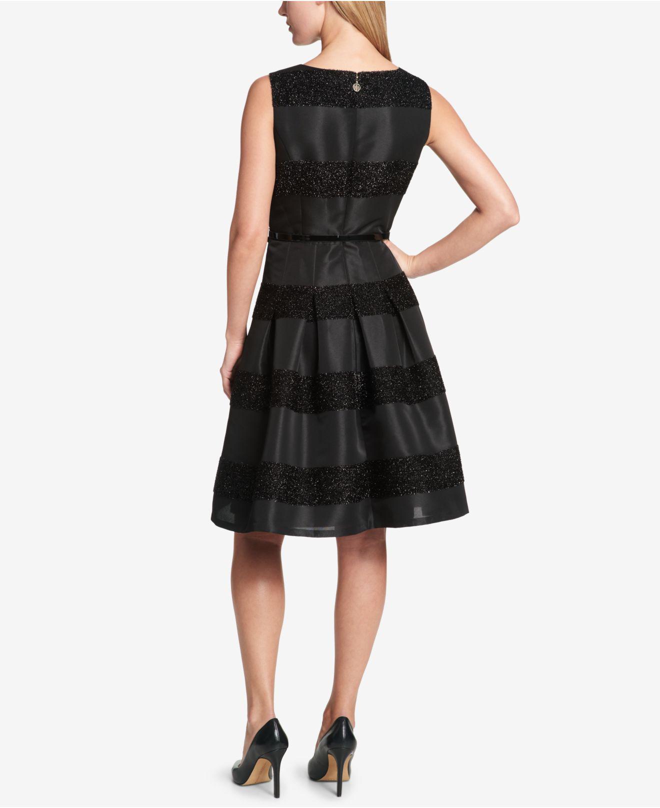 8026e05ad8d1 Tommy Hilfiger - Black Striped Fit   Flare Dress - Lyst. View fullscreen