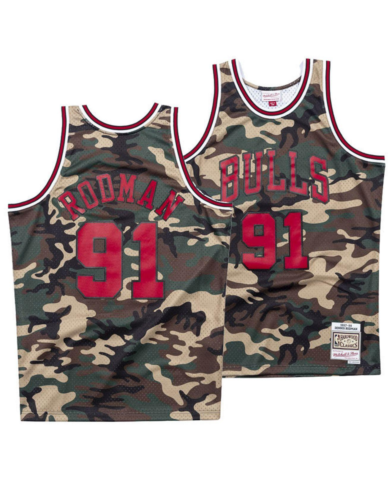 3f54e689a Mitchell & Ness Dennis Rodman Chicago Bulls Woodland Camo Swingman ...
