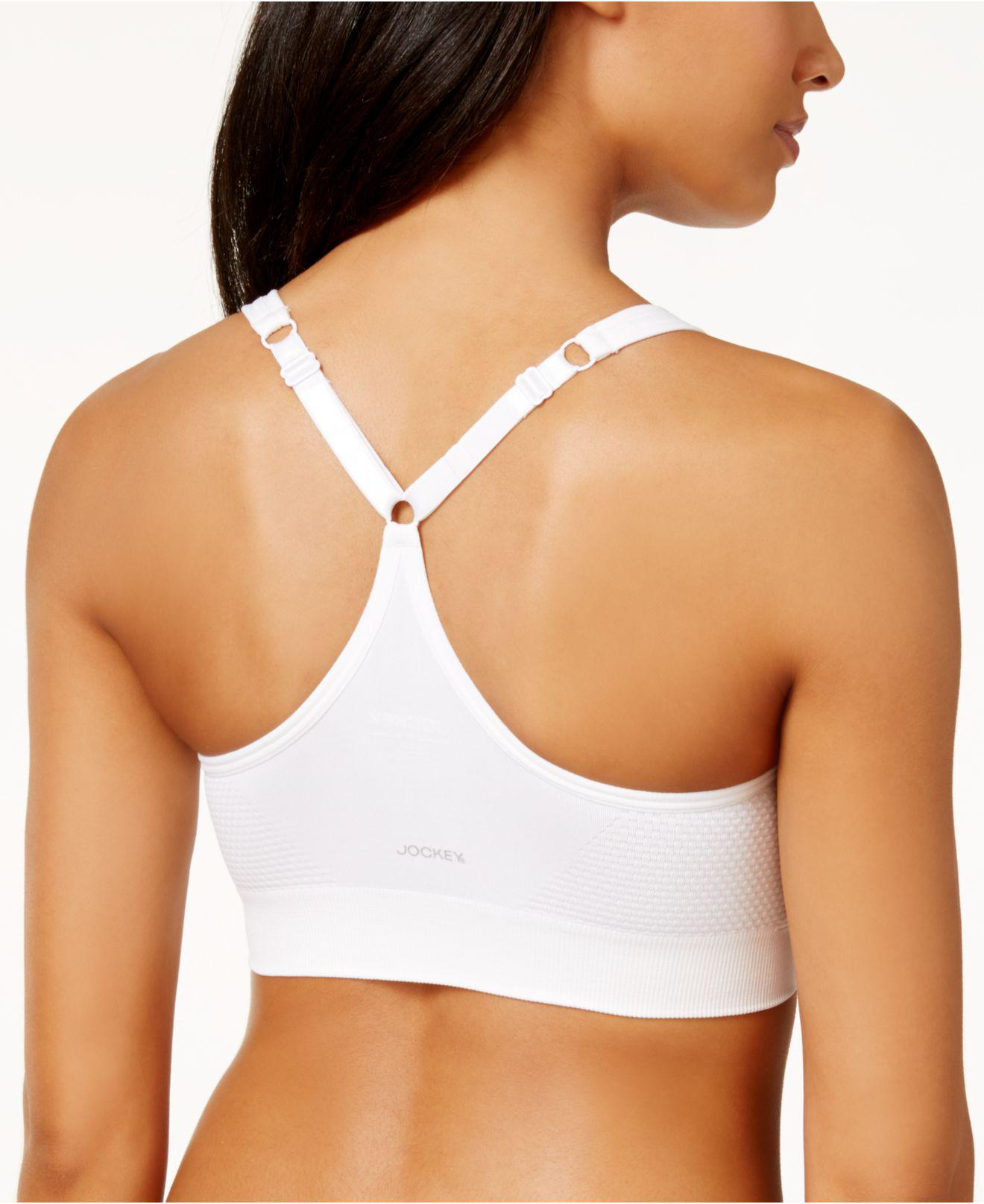 88379d465fcfe Lyst - Jockey Sport Molded Cup Medium Impact Seamless Sports Bra 8126 in  White