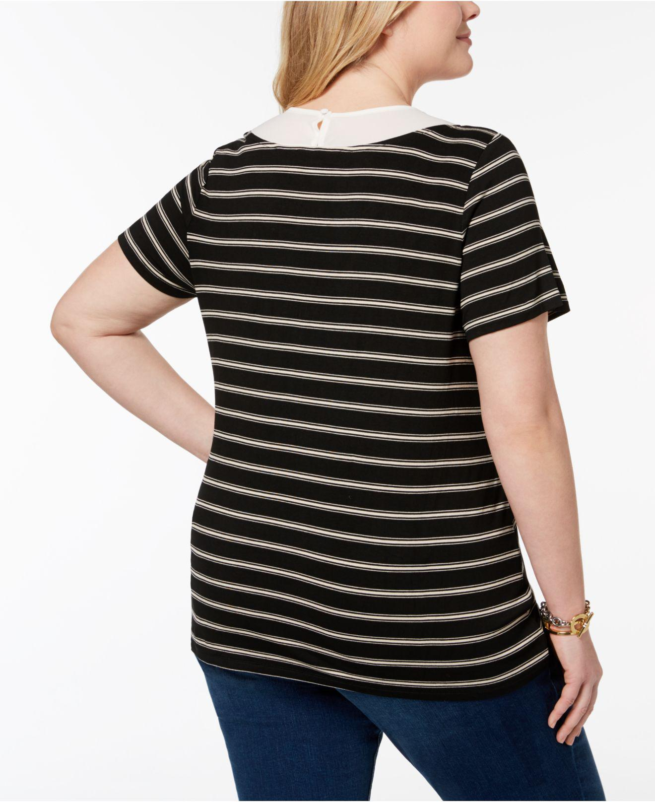 b780a587087 Lyst - Tommy Hilfiger Plus Size Inset-collar Striped Top
