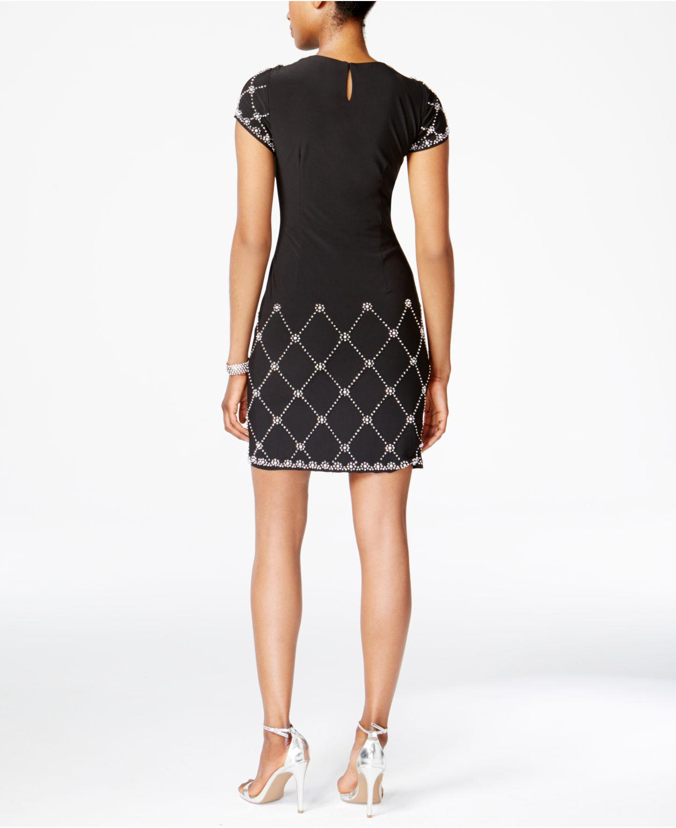 5a05decccac Lyst - Betsy   Adam Embellished Shift Dress in Black - Save  40.15444015444015%