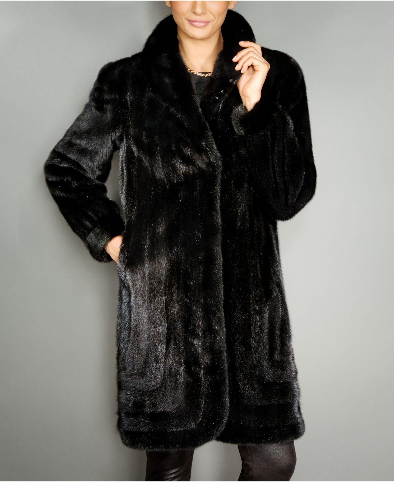 565e2521776 Lyst - The Fur Vault Mink Fur Coat in Black
