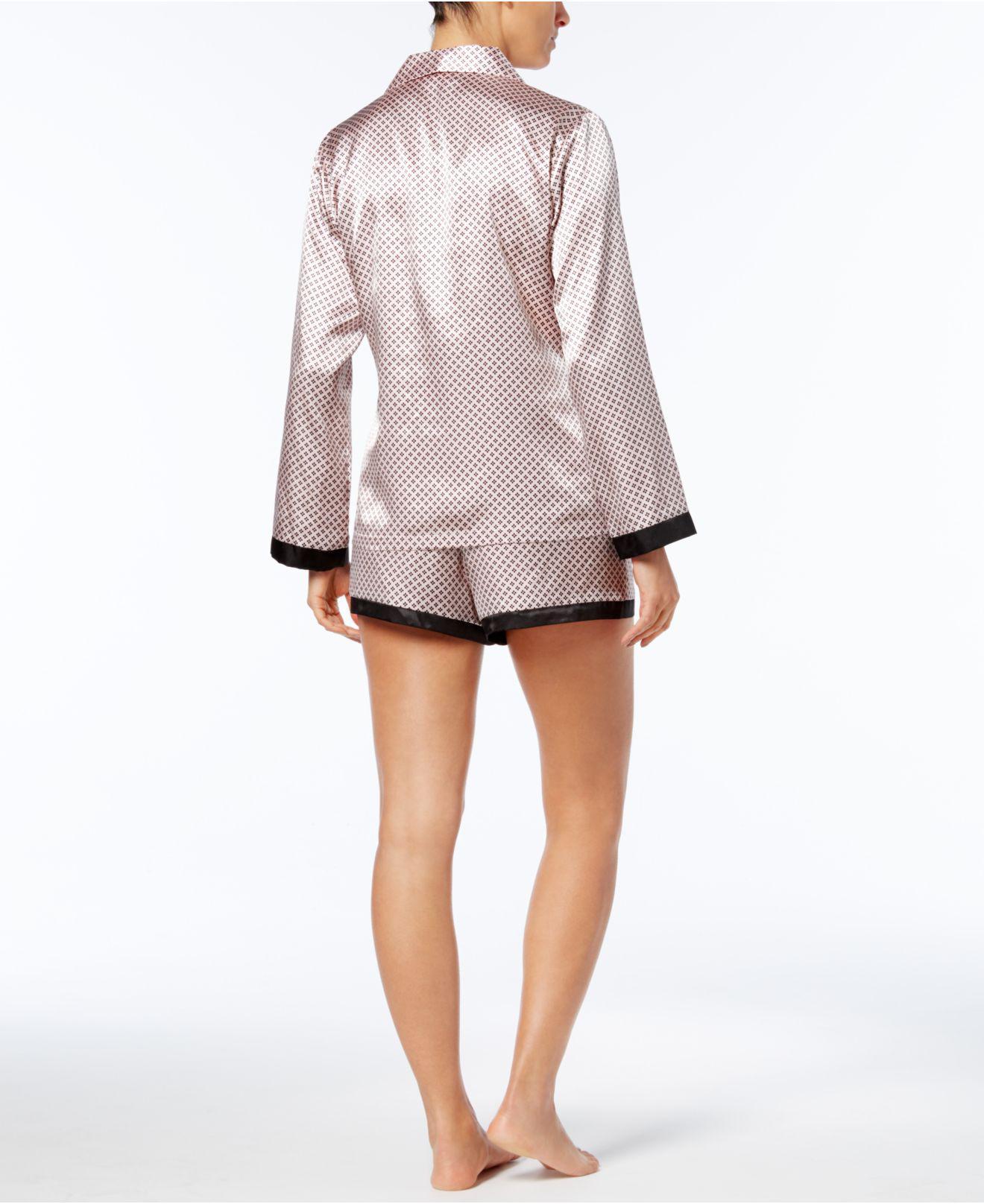 d1a7a1cbe9 Lyst - Linea Donatella Satin Pinstripe Pajama Set in Pink