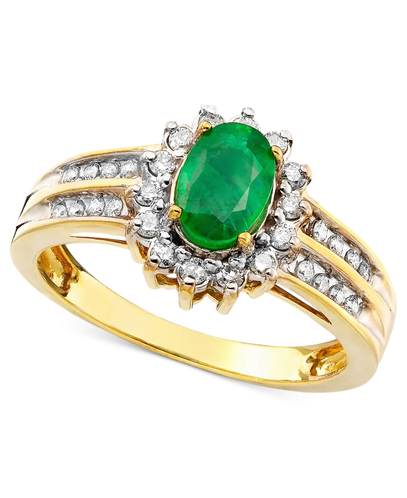 Macy s Emerald 3 4 Ct T w And Diamond 3 8 Ct T w Ring In 14k Gold