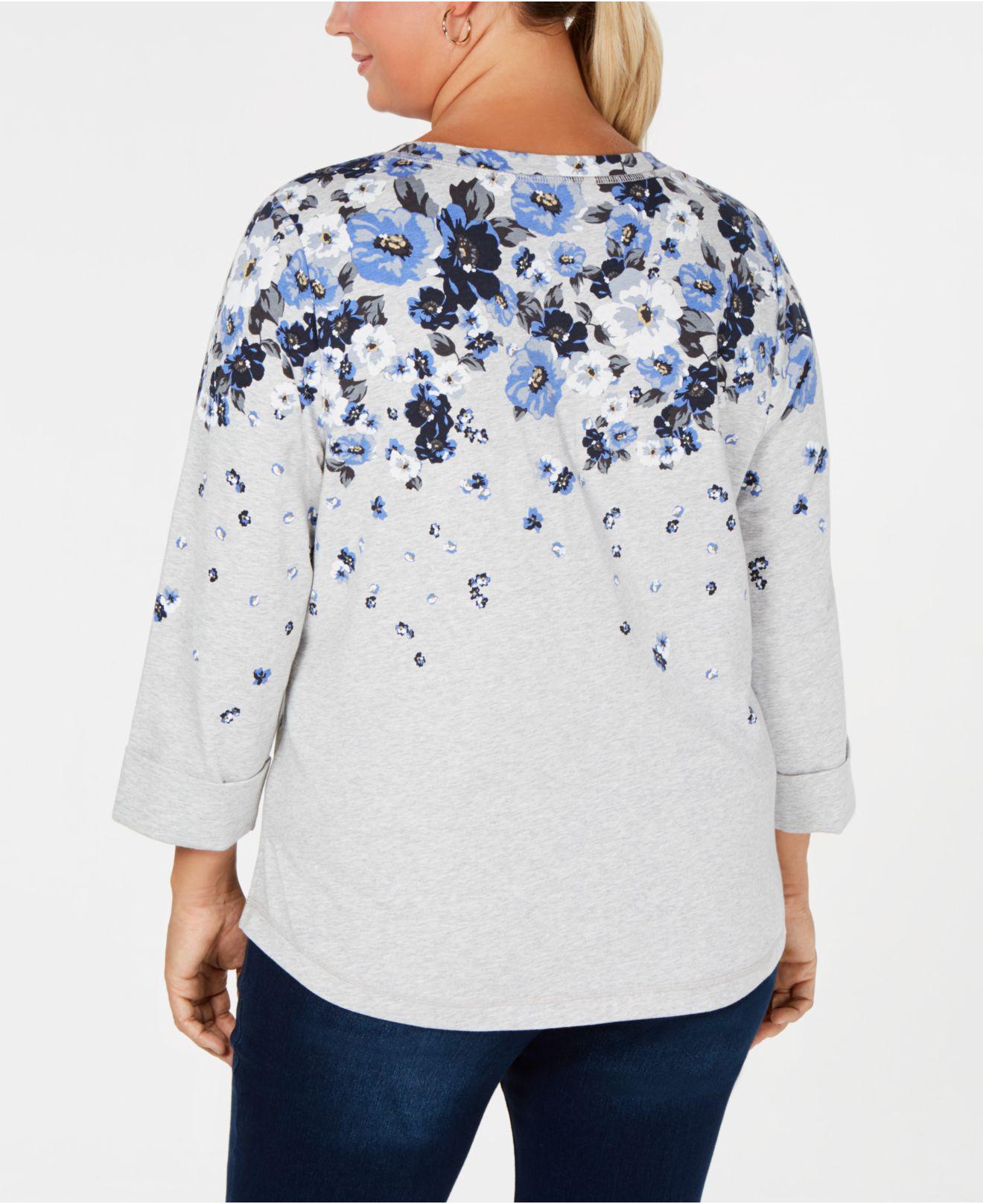 a3e85f47fd4 Lyst - Karen Scott Plus Size Floral-print Top