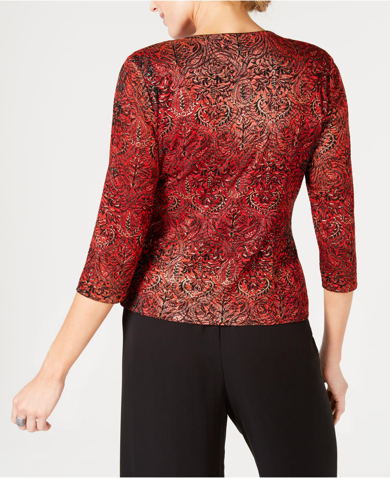 3e13be97bf17e0 Alex Evenings - Red Metallic Printed Jacket   Top Set - Lyst. View  fullscreen