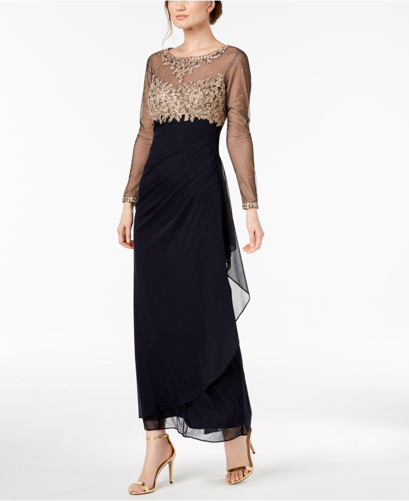 Lyst - Xscape Petite Embroidered Illusion Gown in Blue