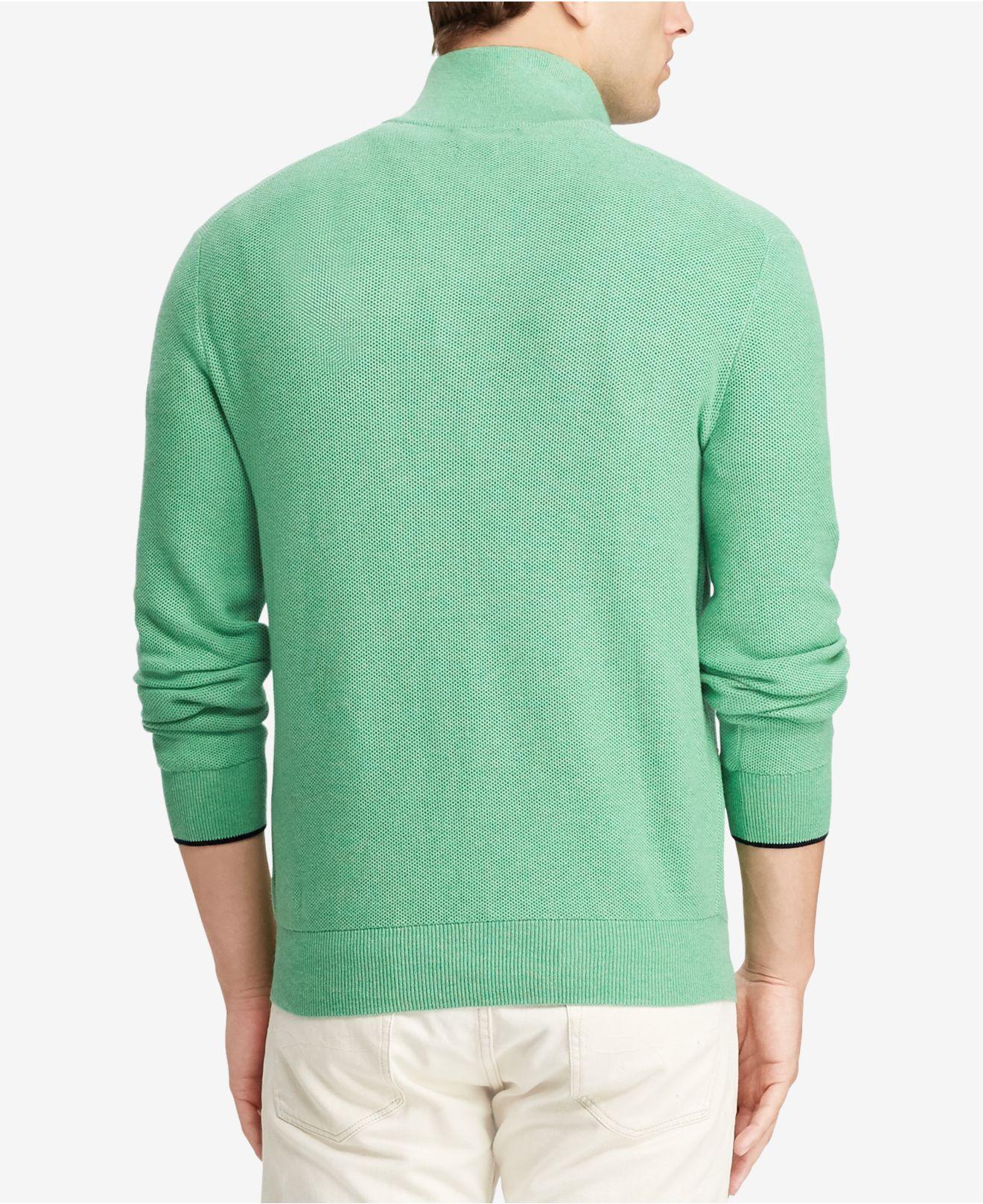 f5d1d9e0d50f6 Lyst - Polo Ralph Lauren Mesh Half-zip Sweater in Green for Men