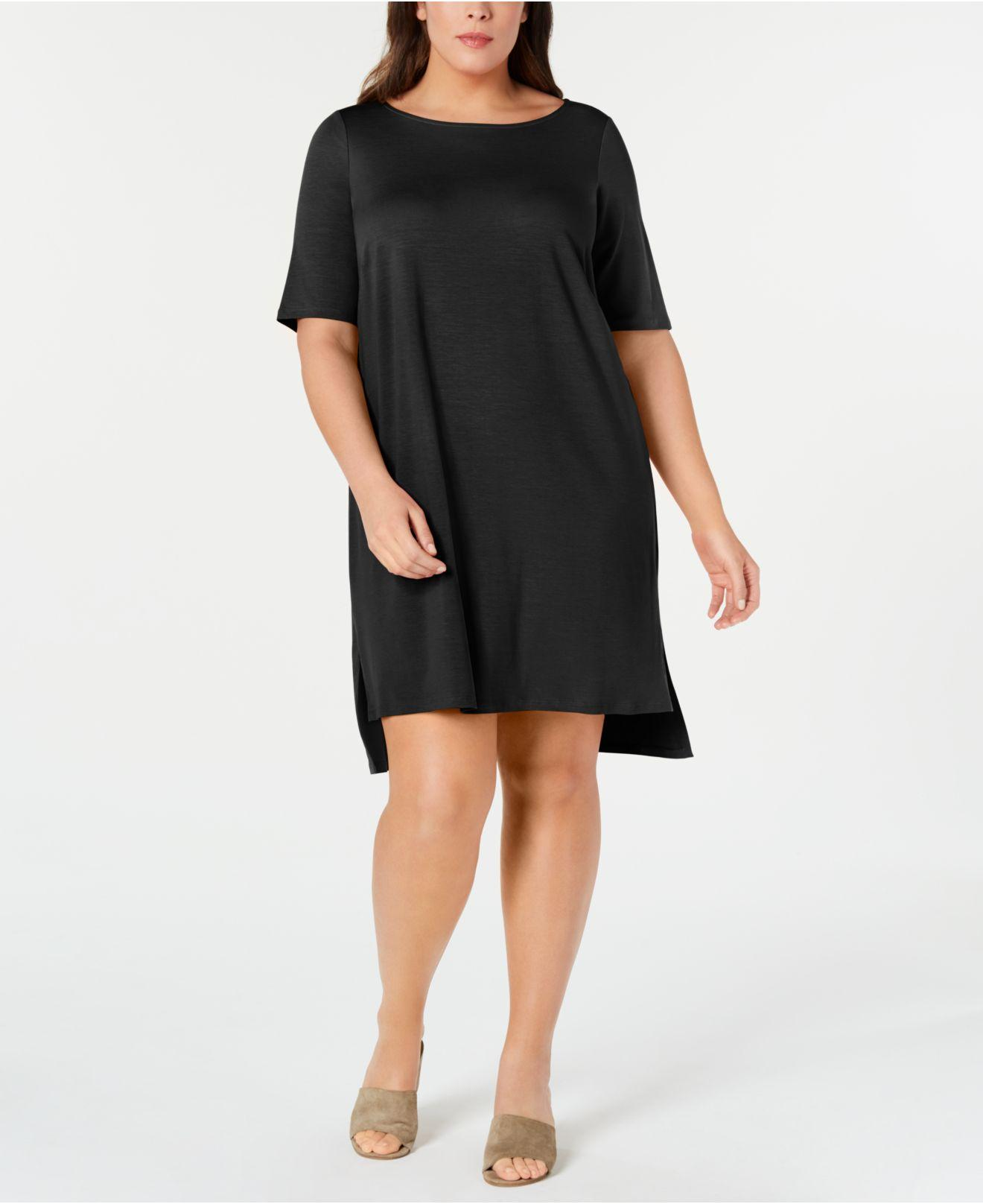 3b45672ff6f Lyst - Eileen Fisher Plus Size Elbow-sleeve High-low Dress in Black