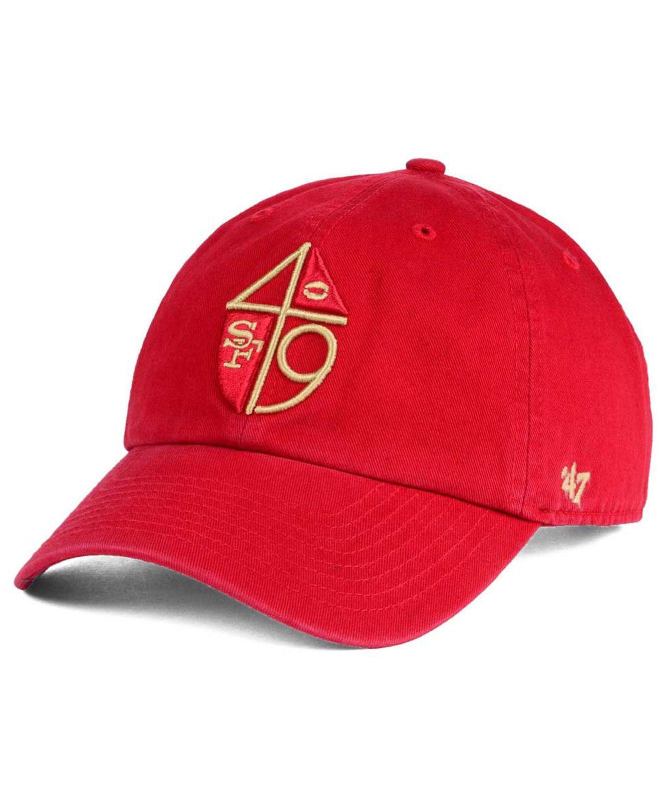 ae8a8711b4edb5 Lyst - 47 Brand San Francisco 49ers Clean Up Strapback Cap in Red ...
