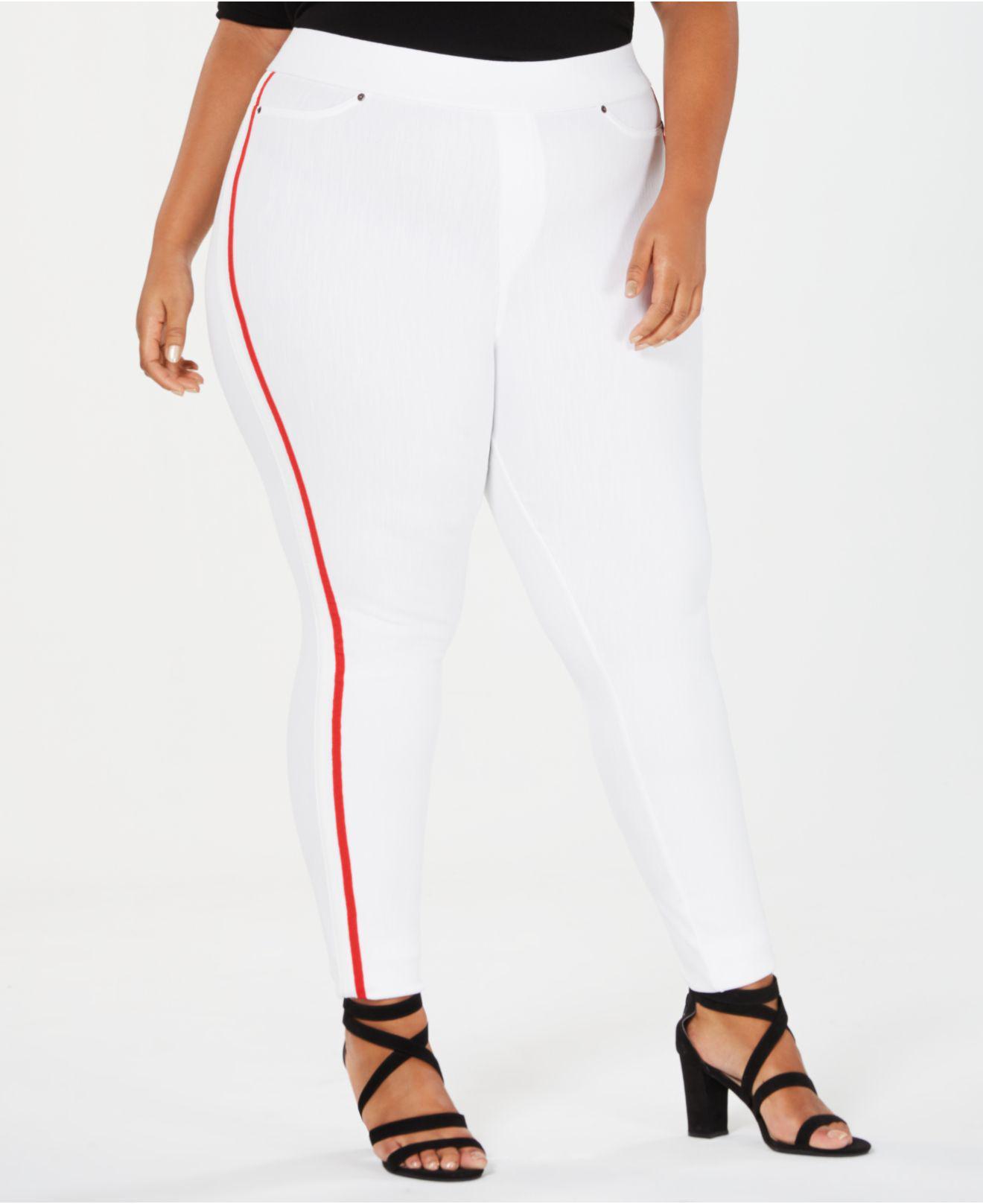 f2a56c90d6fdb Lyst - Hue ® Plus Size Racer Stripe Original Denim Leggings in White