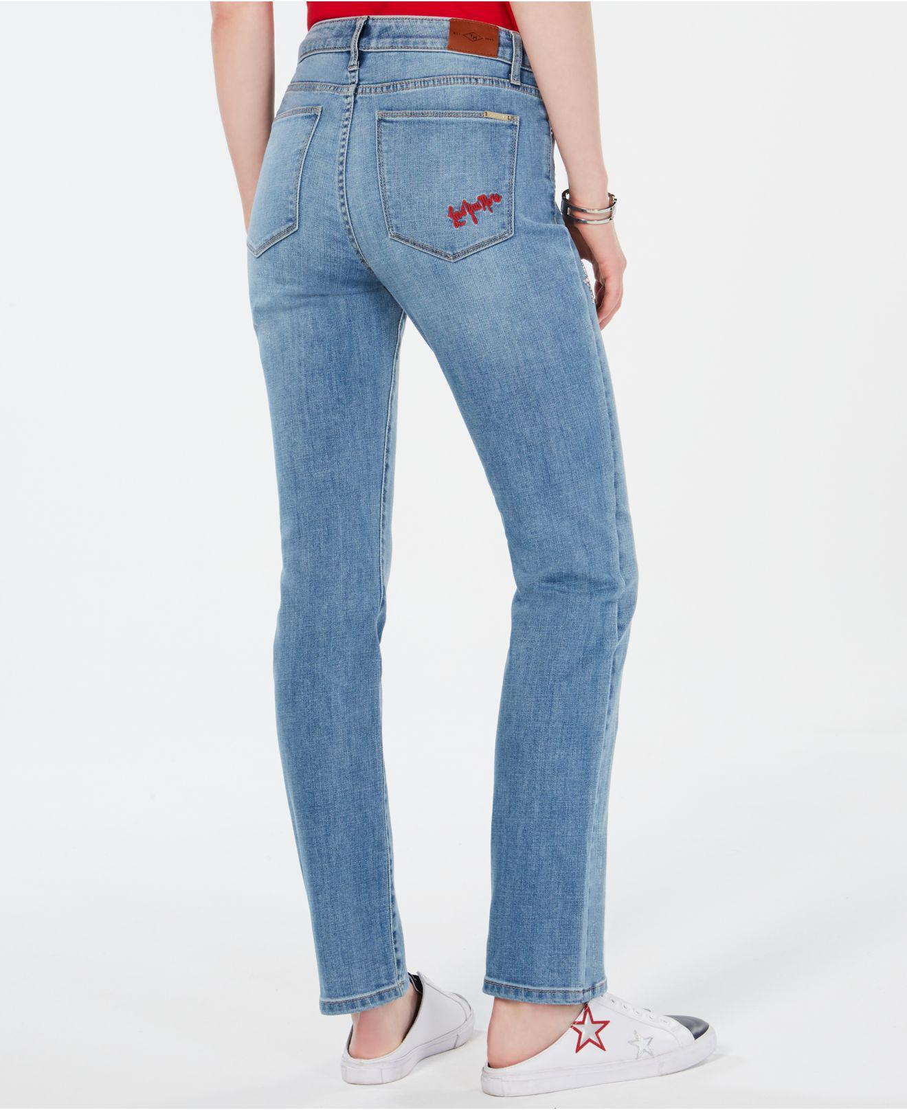 a9de900b8ab Lyst - Tommy Hilfiger Patch-detail Straight-leg Jeans