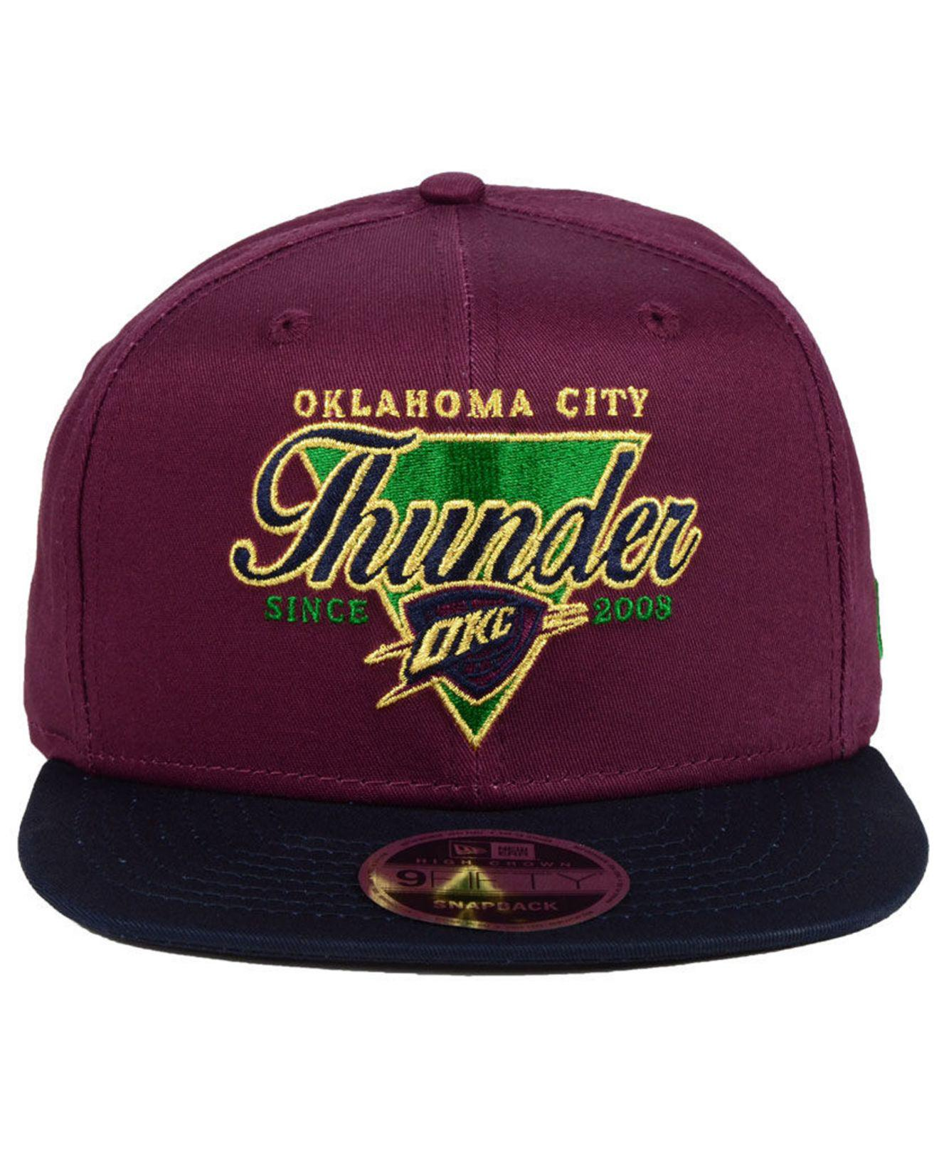 premium selection b316e c5090 ... germany lyst ktz oklahoma city thunder 90s throwback 9fifty snapback cap  in purple for men 49166