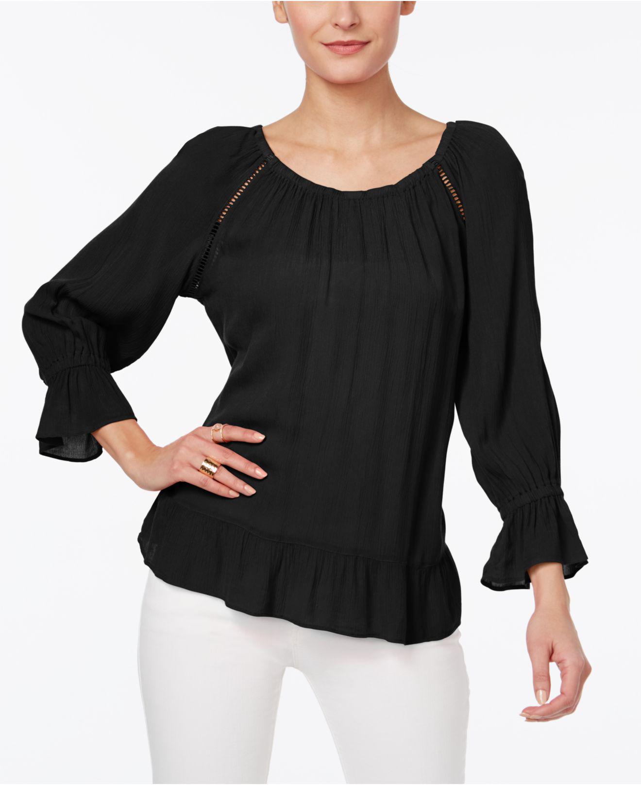 63db738ec5a528 INC International Concepts. Women's Black I.n.c. Petite Crochet-trim Peasant  Top ...