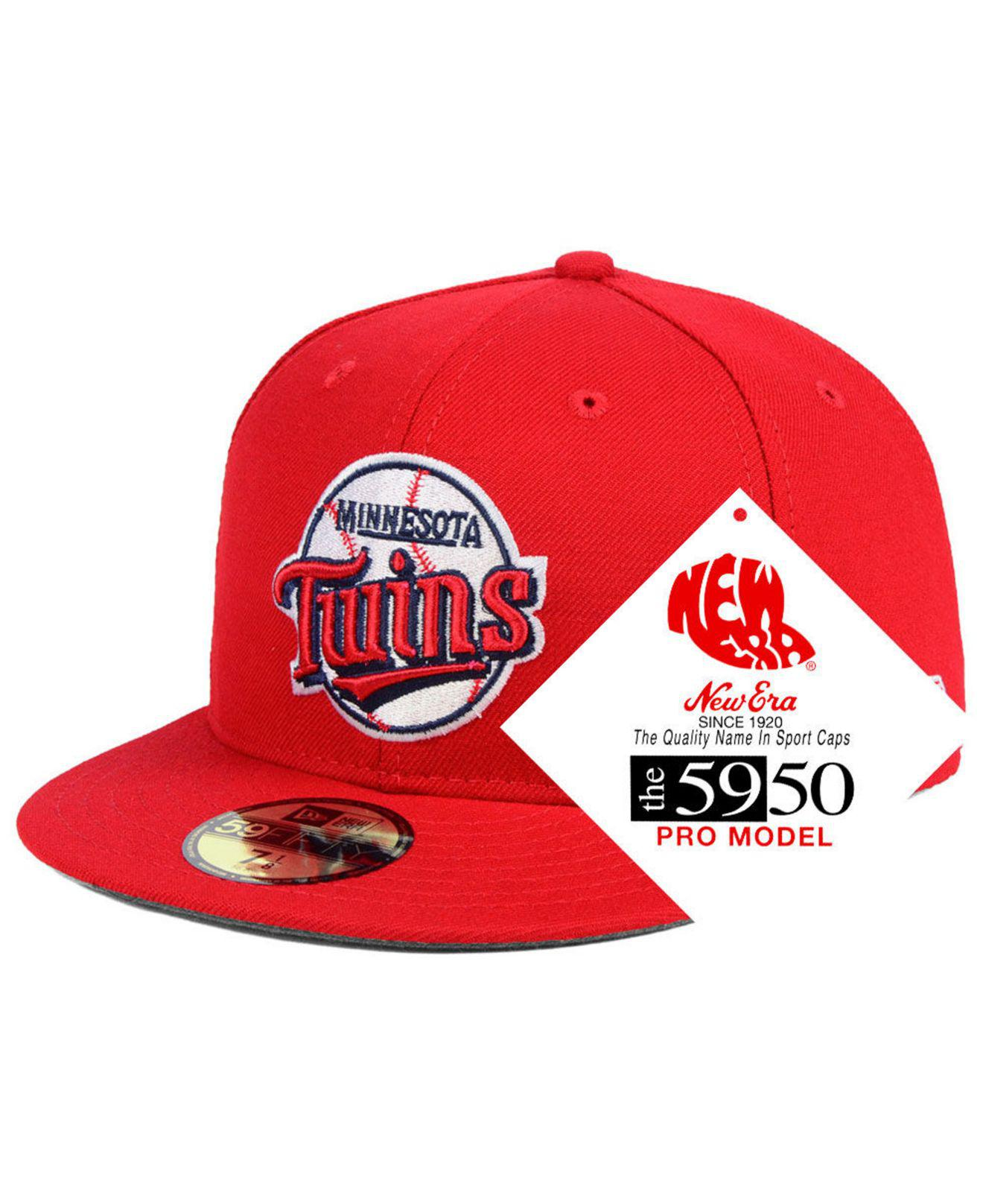 finest selection 85b9e 4116c KTZ. Men s Red Minnesota Twins Retro Stock 59fifty Fitted Cap