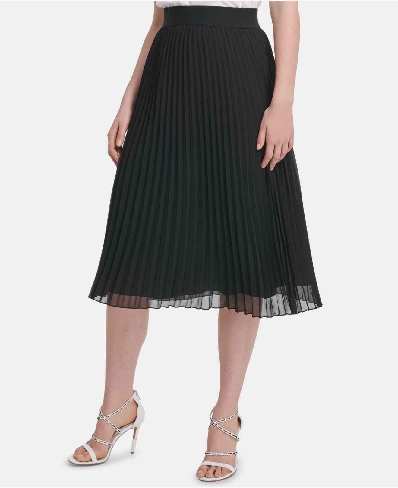 88e76d5fe DKNY Pull-on Pleated Skirt in Black - Lyst