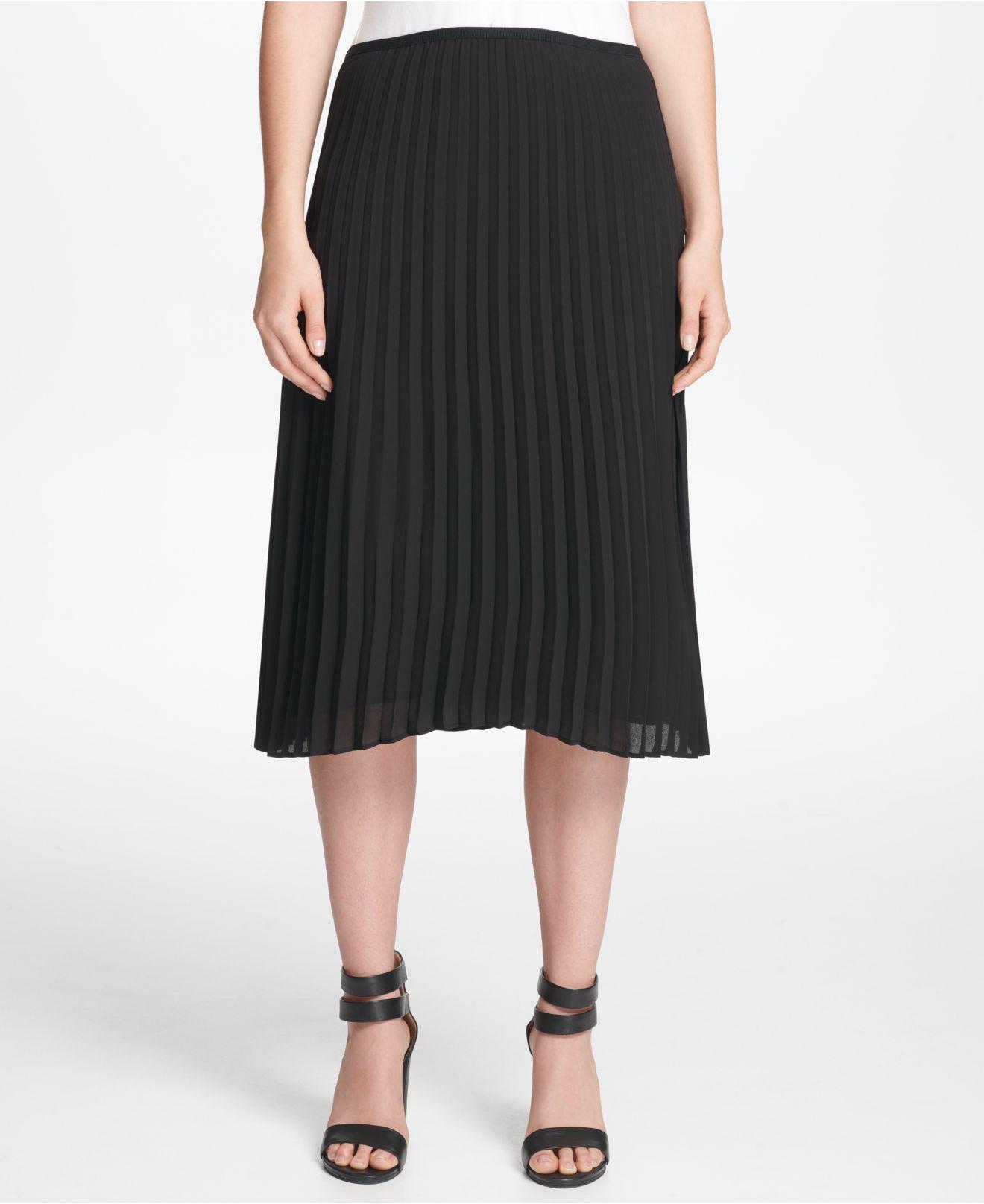 adb5a8bf5 DKNY Petite Pleated Midi Skirt in Black - Lyst