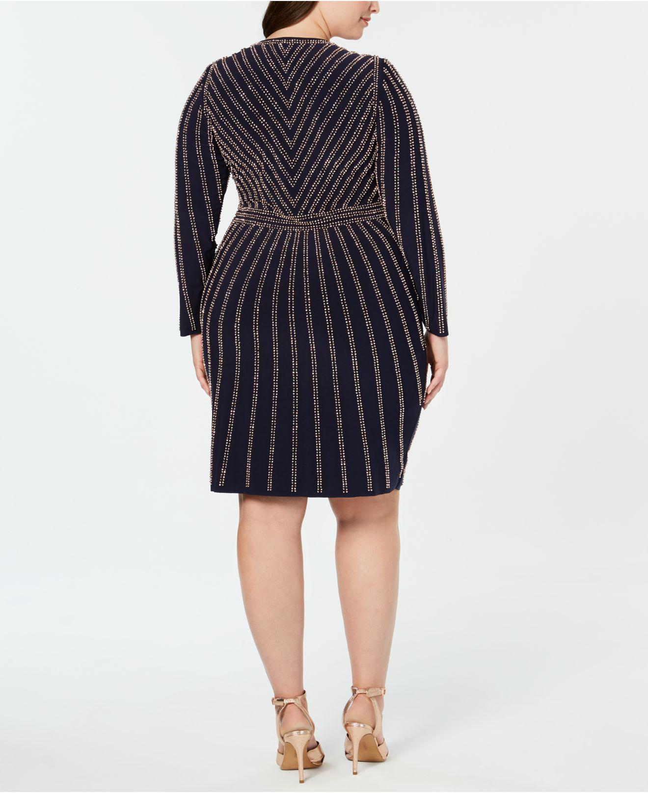 Xscape Plus Size Long-sleeve Embellished Bodycon Dress in Blue - Lyst